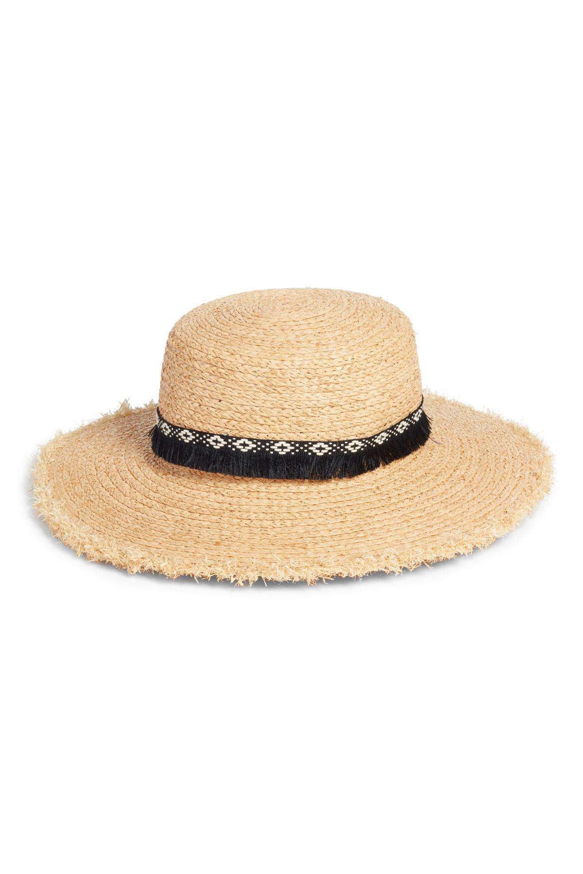 8fd941a7238 Lyst - Caslon Fringe Trim Straw Boater Hat in Natural - Save 4%