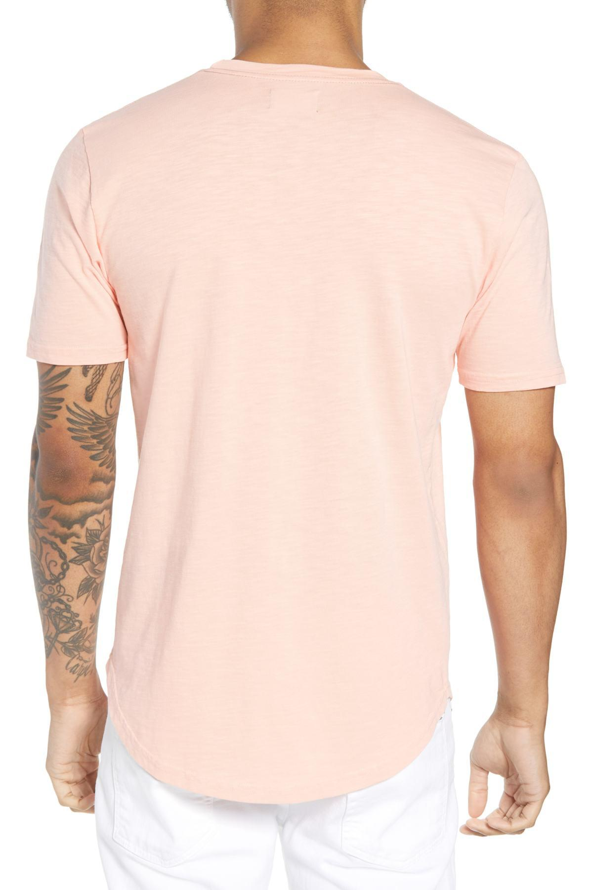 8ba0e68b Goodlife Scallop Hem Slub Crewneck T-shirt in Pink for Men - Lyst