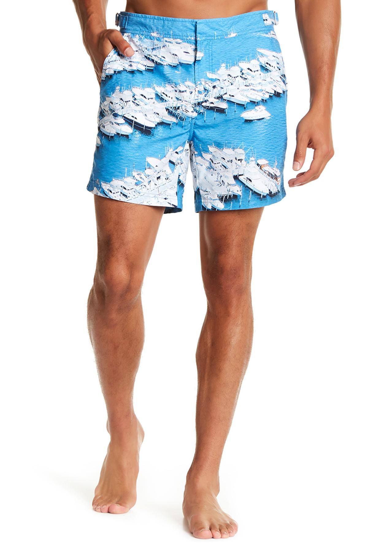 b8b1dcb3633cb Lyst - Jachs Harbor Print Hampton Fit Swim Trunk in Blue for Men