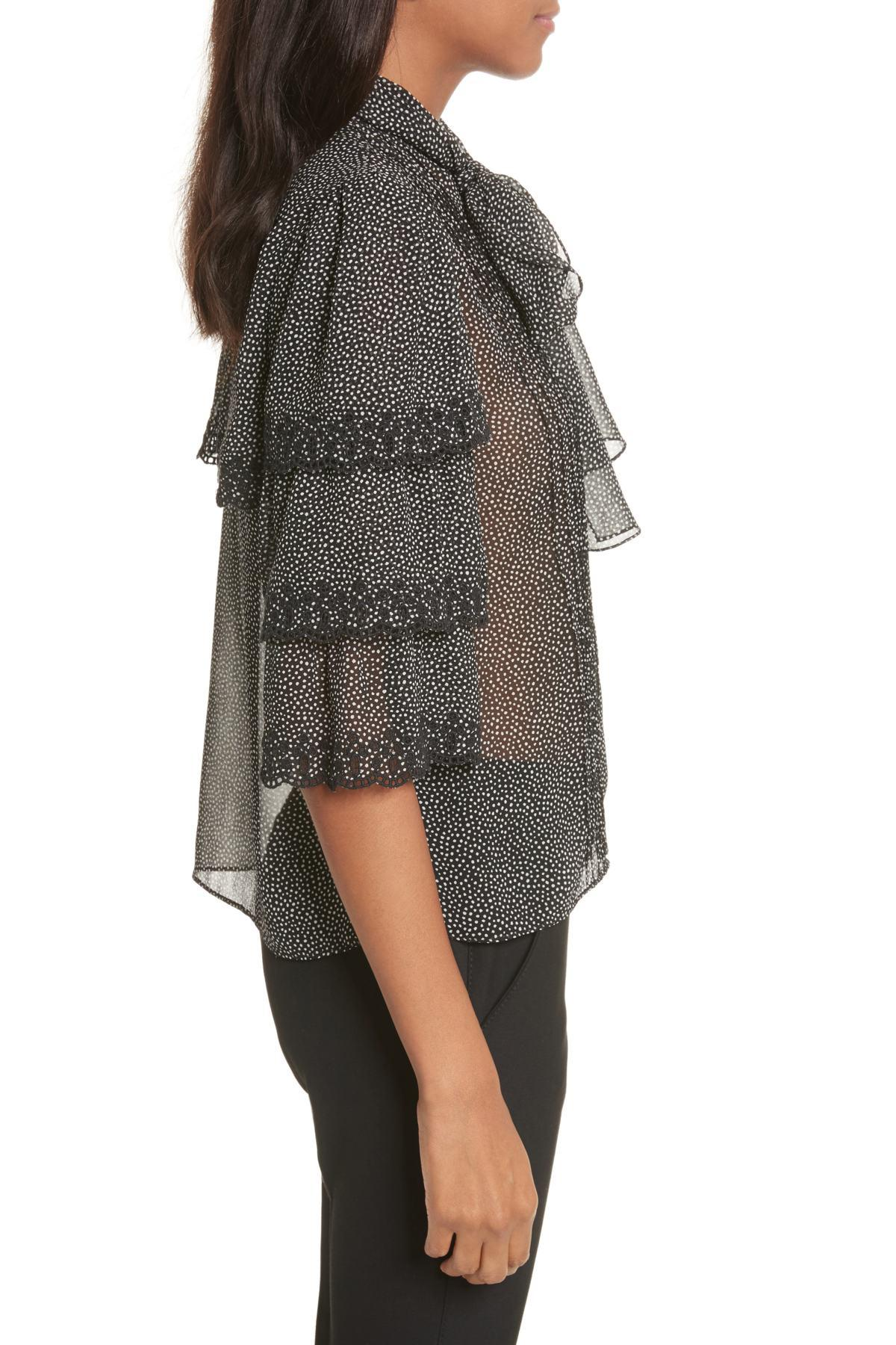 b2b84fbcf41164 Lyst - Rebecca Taylor Tie Neck Tiered Sleeve Silk Blouse in Gray