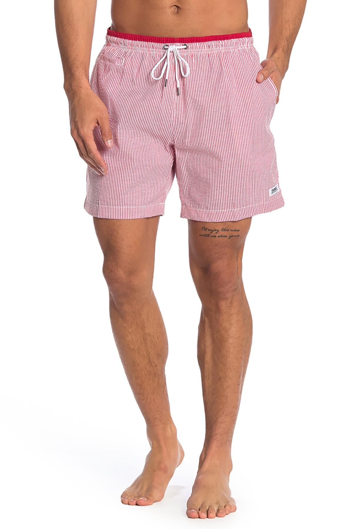 398125fb59690 TRUNKS SURF AND SWIM CO - Pink Premium Striped Sano Swim Shorts for Men -  Lyst. View fullscreen