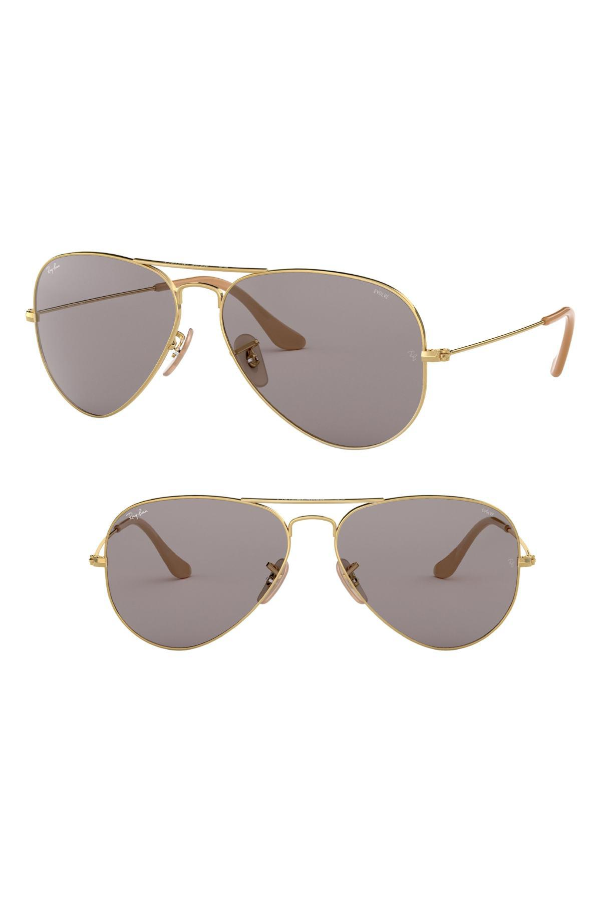 99c92fe343 Ray-Ban Evolve 55mm Photochromic Aviator Sunglasses in Gray - Lyst