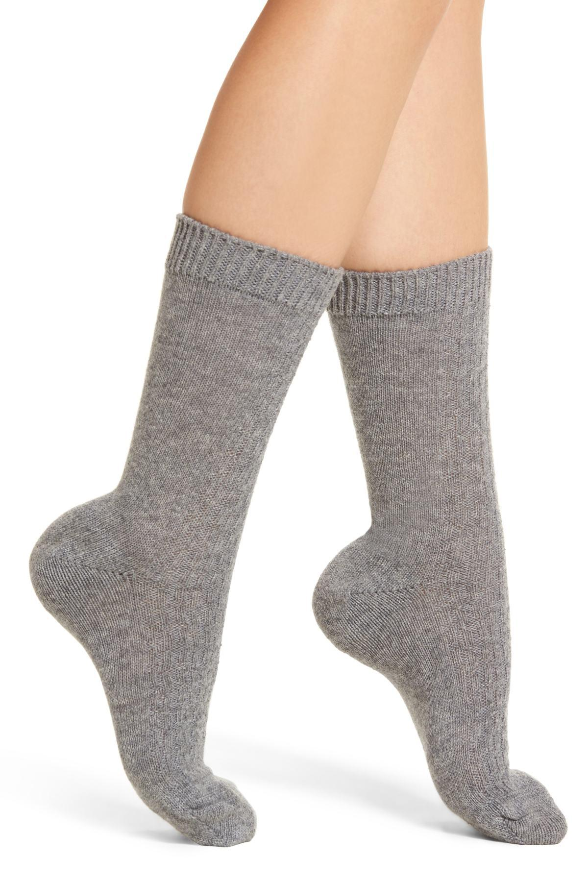 34837ddee1078 Lyst - Nordstrom Luxe Baby Cable Knit Cashmere Blend Crew Socks in Gray
