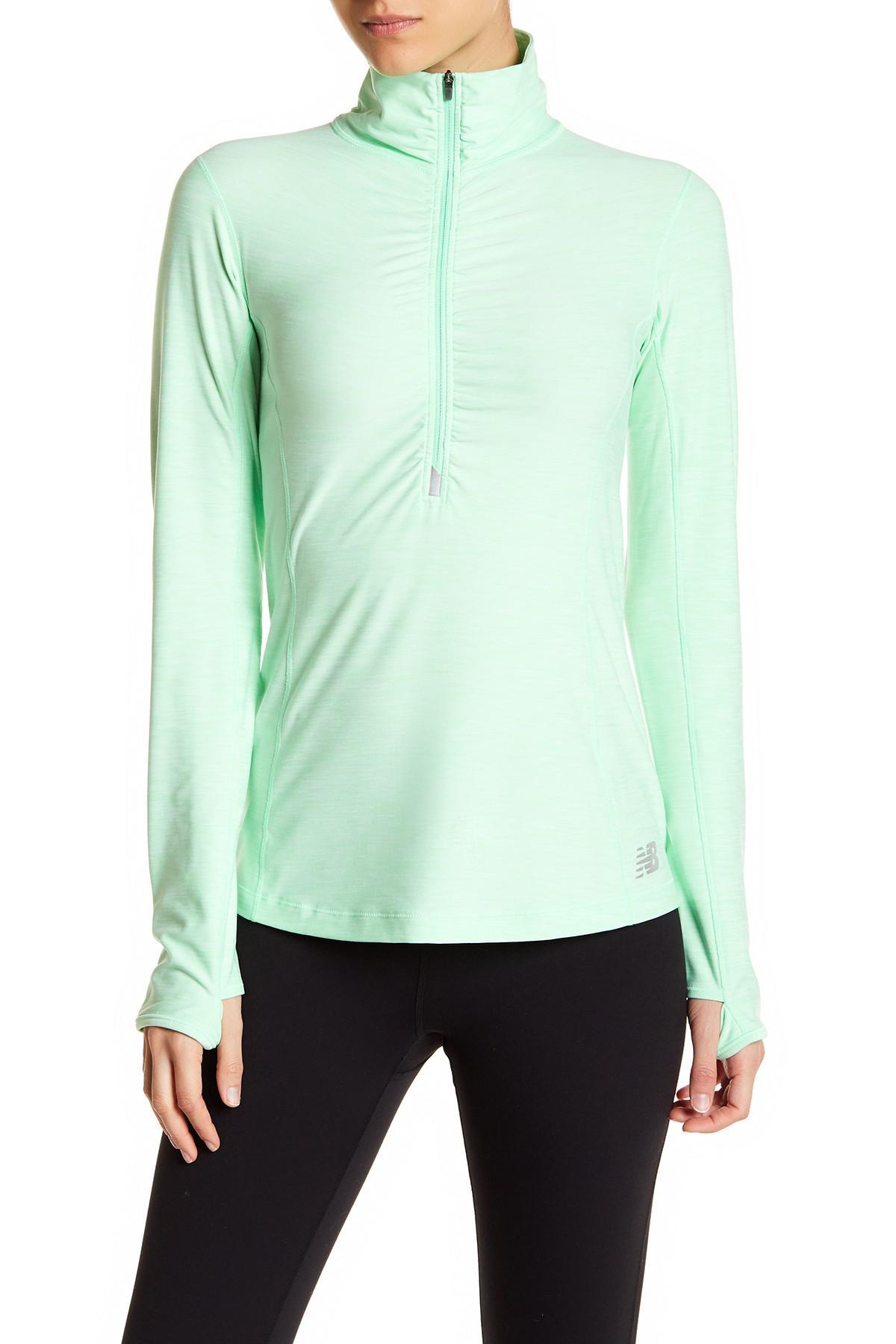 New balance half zip long sleeve moisture wicking top in for Moisture wicking dress shirts
