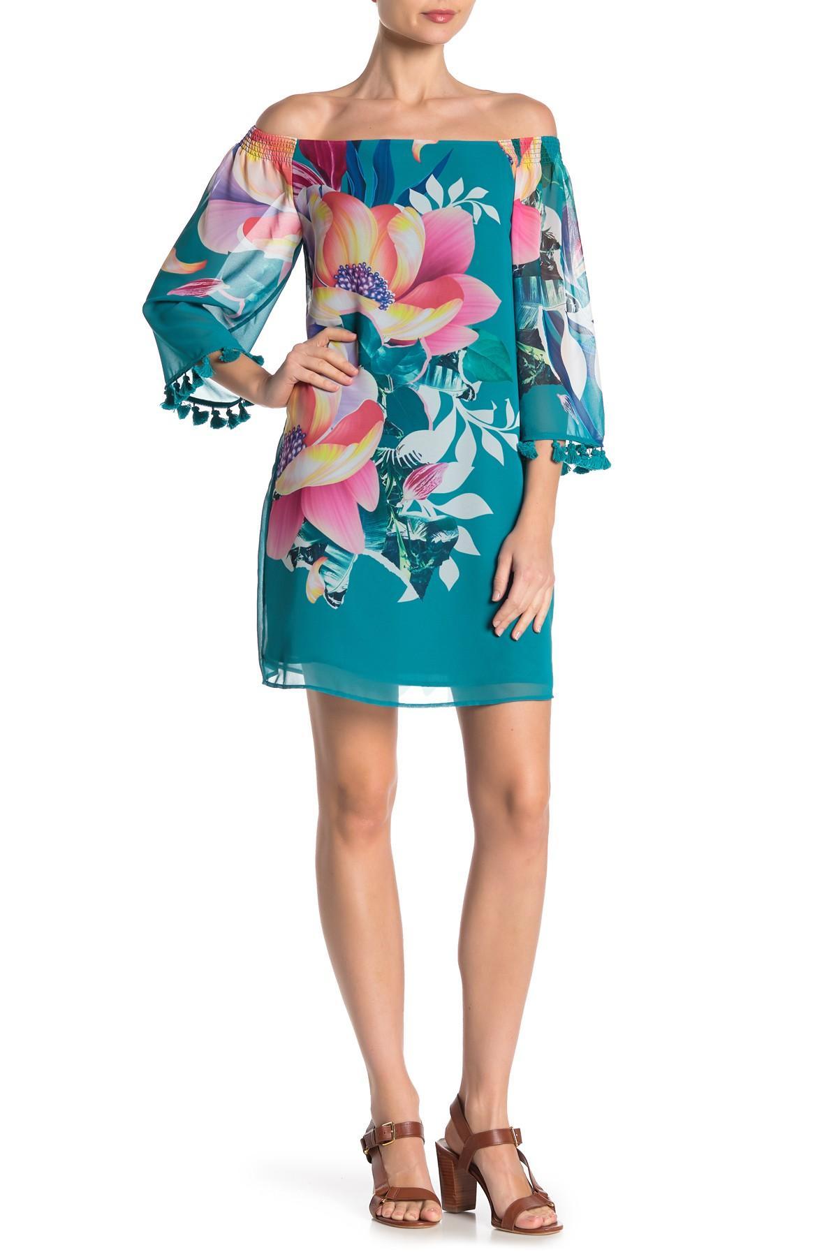 94f6e4ab1e6 Trina Turk - Blue Amaris Off-the-shoulder Floral Print Dress - Lyst. View  fullscreen