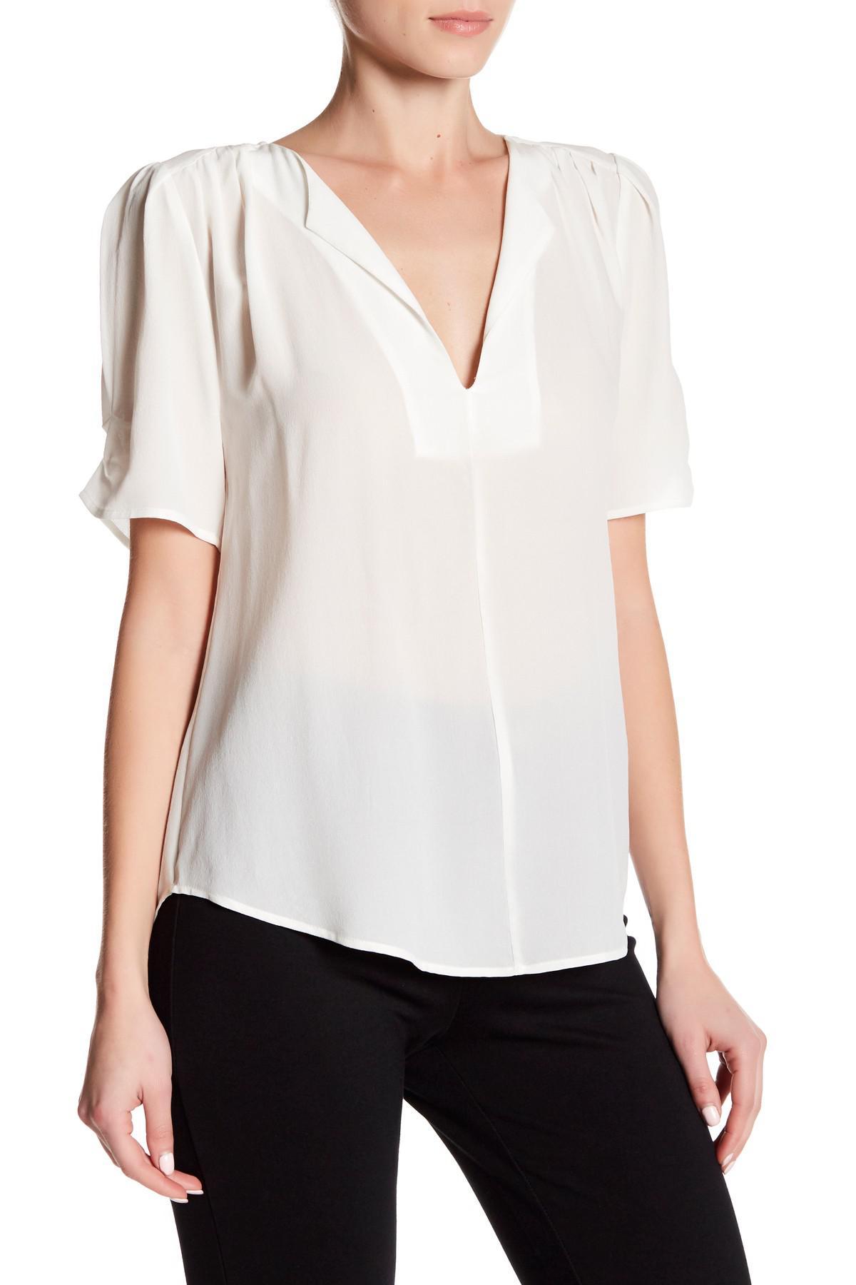 512a25ac22e57 Lyst - Joie Amone Pleat Silk Blouse in White