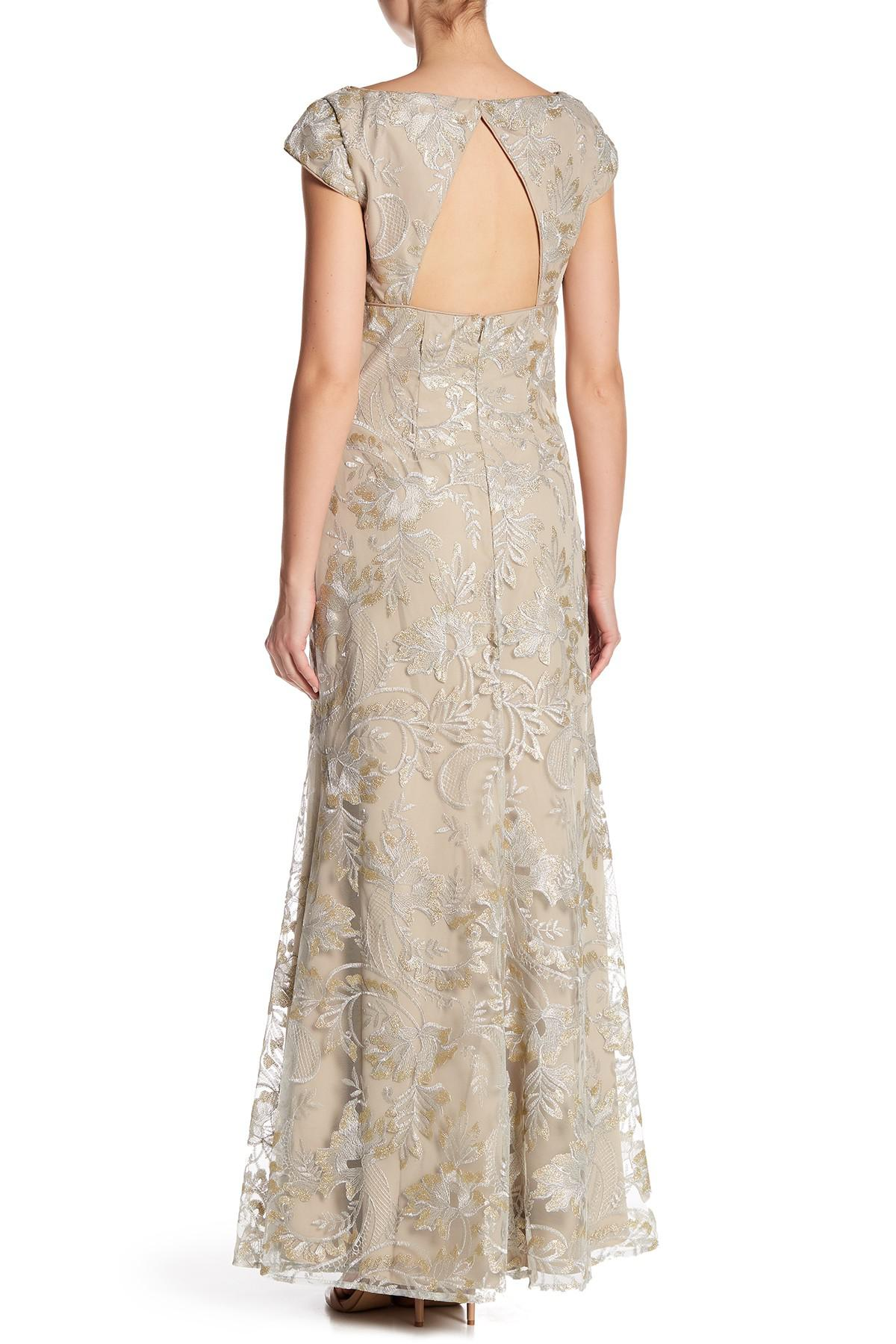 Js collections Beaded Gold Long Dress in Metallic | Lyst