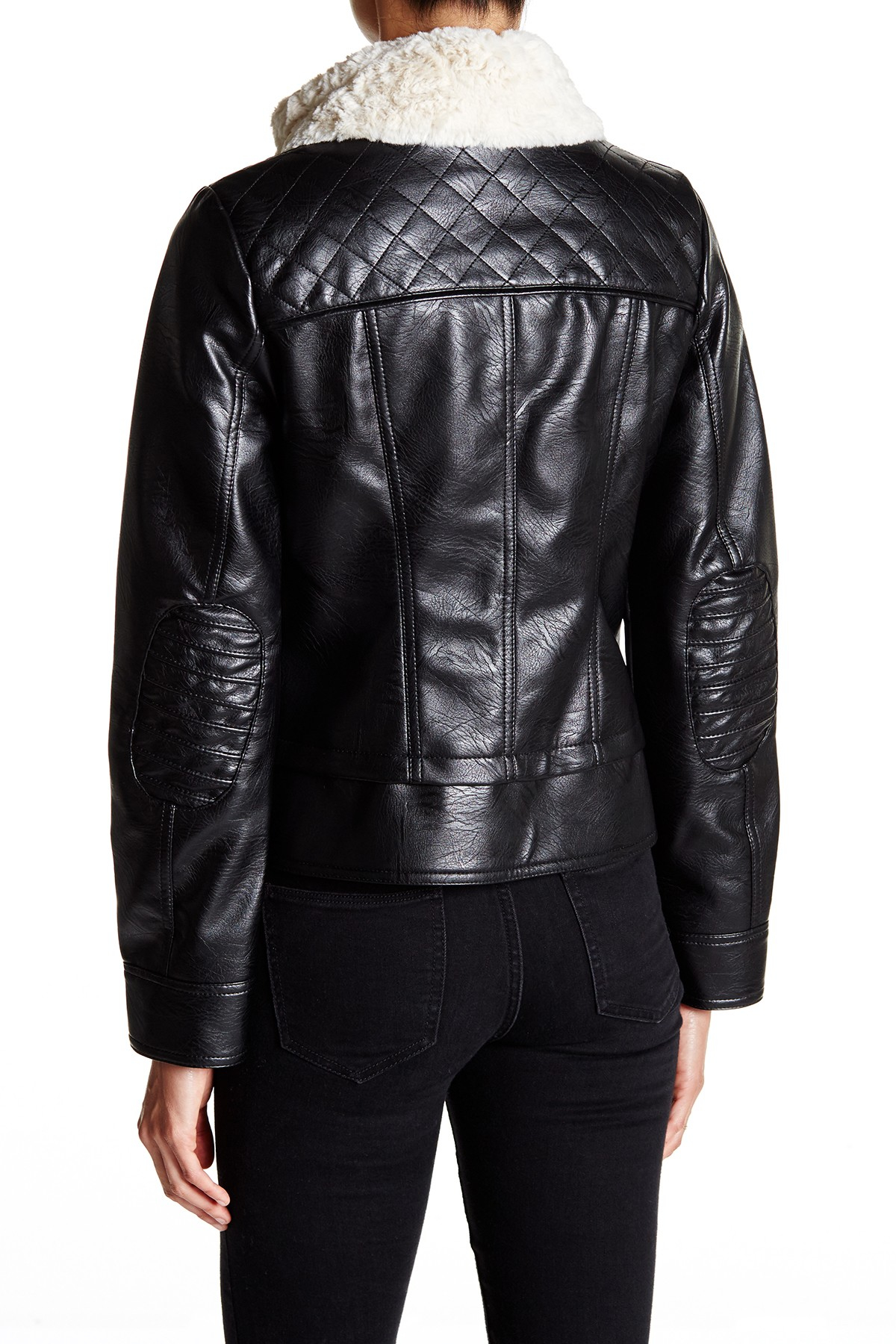 Lyst Guess Faux Shearling Collar Faux Leather Moto