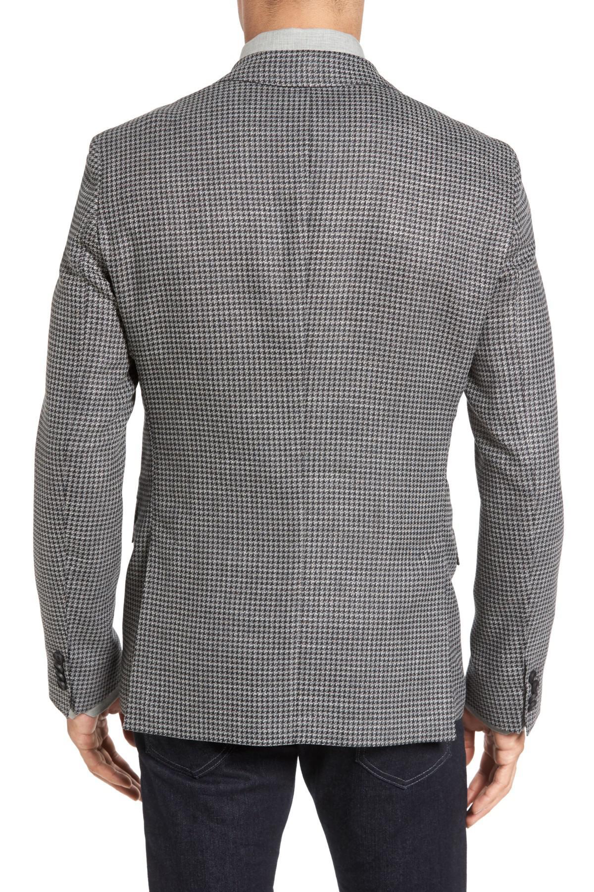 5f9e8dff0 BOSS - Gray Boss Roan Trim Fit Houndstooth Wool Blend Sport Coat for Men -  Lyst