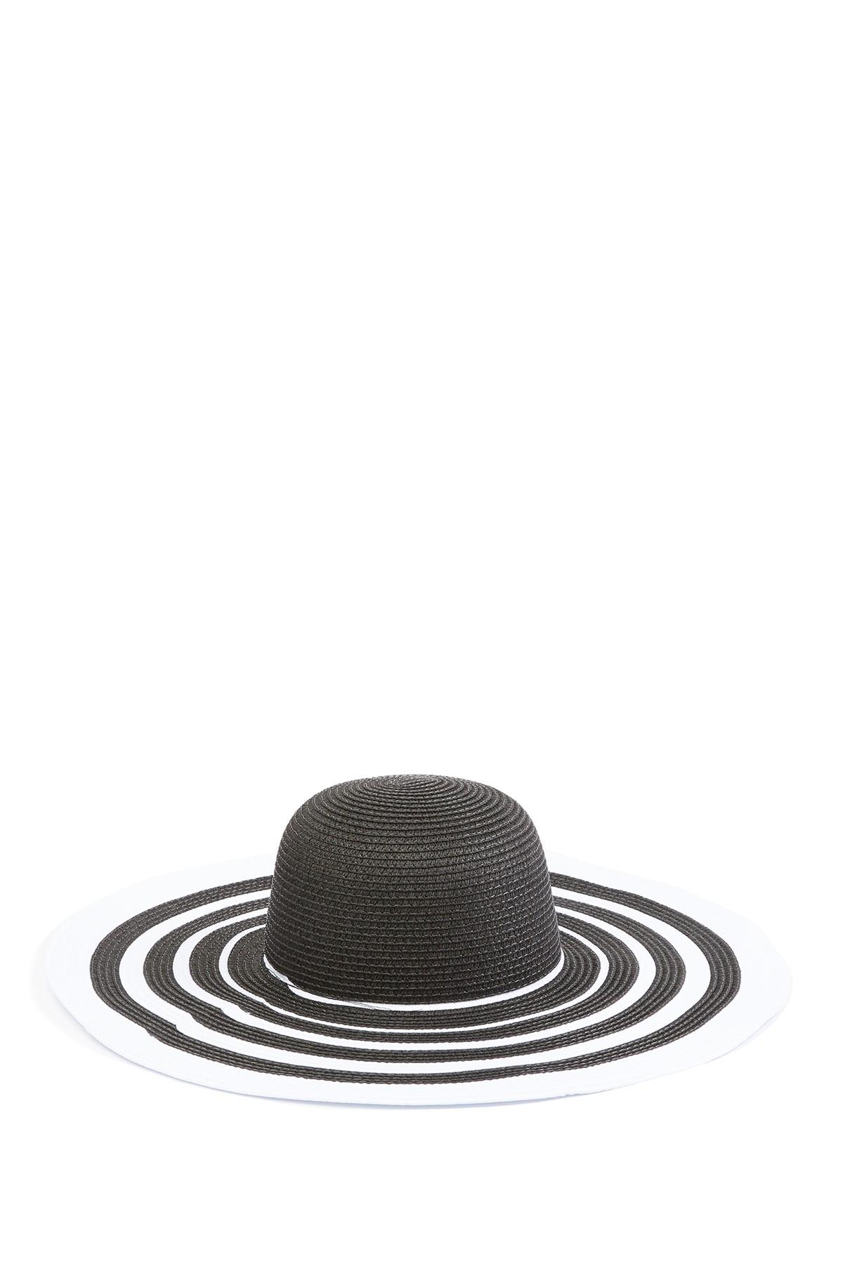 7479326fd Vince Camuto Ribbon Stripe Floppy Hat in Black - Save 59% - Lyst