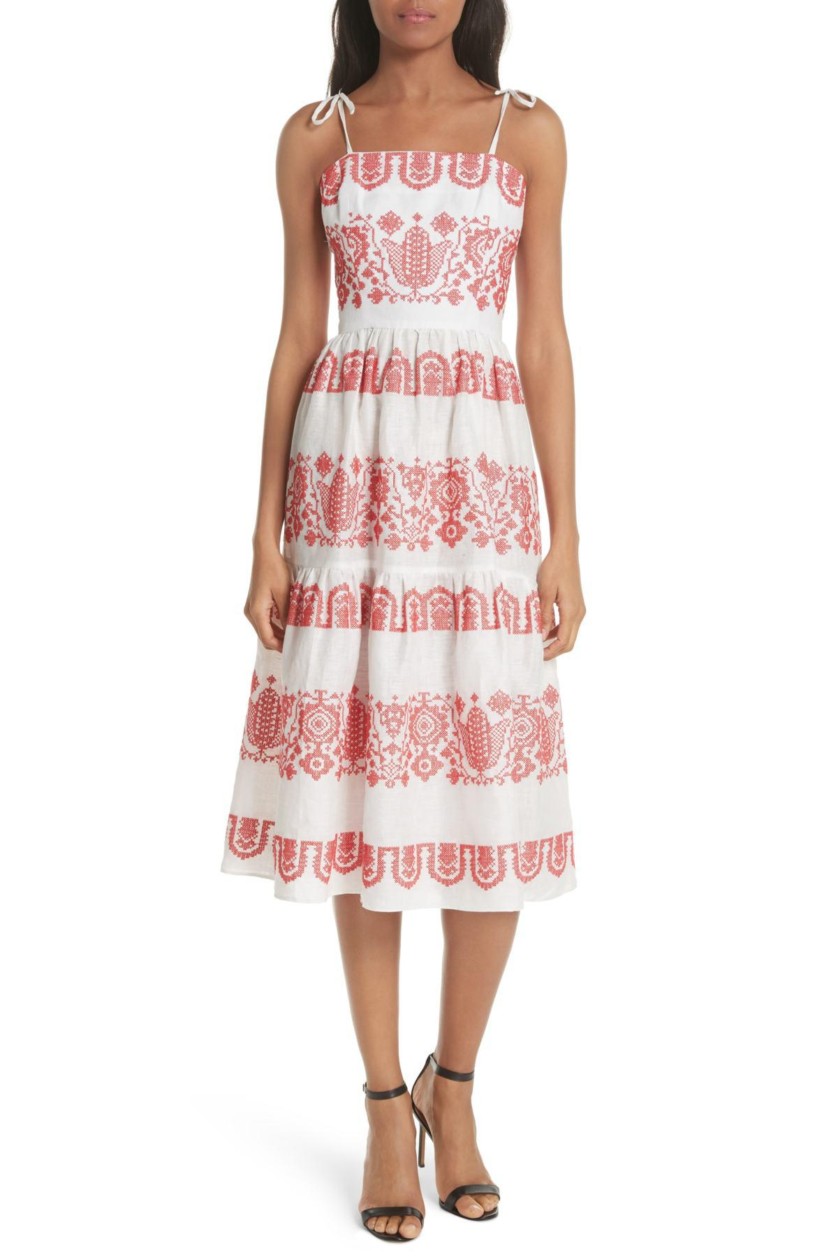 632dc55a5a1 MILLY Mykonos Embroidered Linen Sundress in Red - Lyst