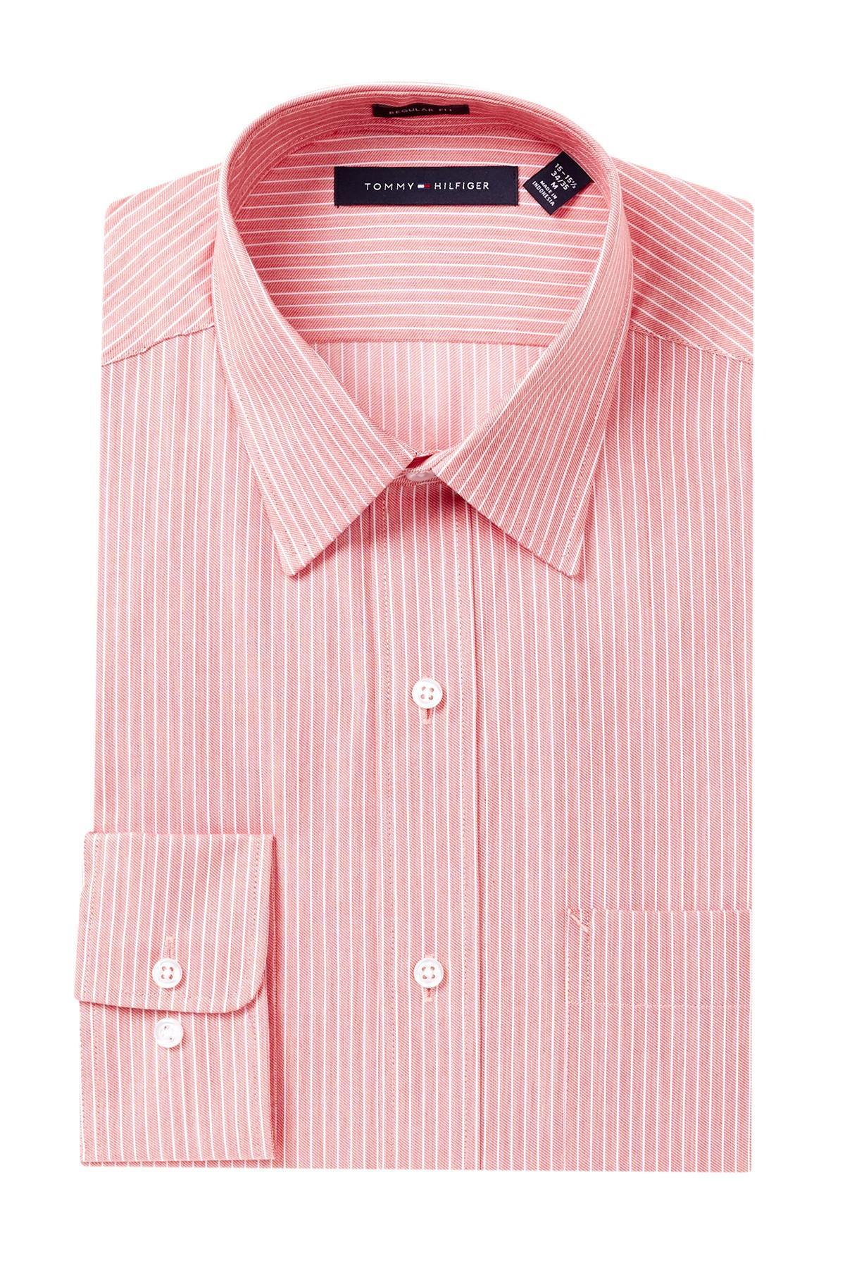 Tommy hilfiger striped regular fit dress shirt in pink for for Regular fit dress shirt