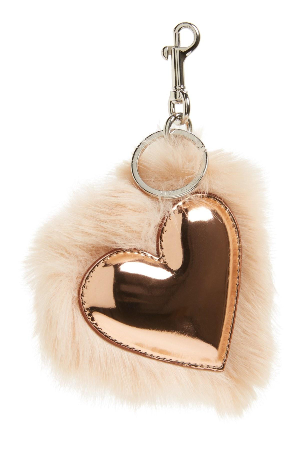 045b9d60b08e Lyst - Stella McCartney Faux Fur Heart Bag Charm