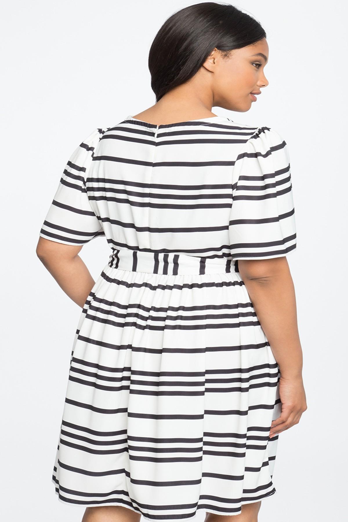 c5c4afbf77 Eloquii - White Circle Sleeve Fit   Flare Dress (plus Size) - Lyst. View  fullscreen