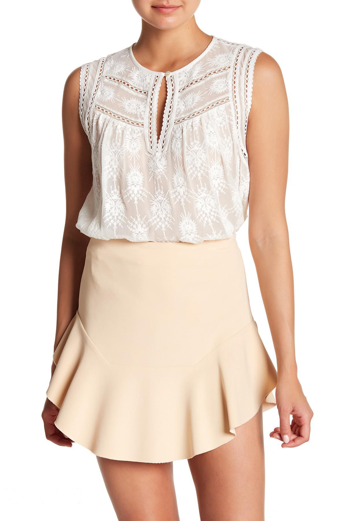 305737f7214 Lyst - Rebecca Taylor Selina Embroidered Silk Tank Top