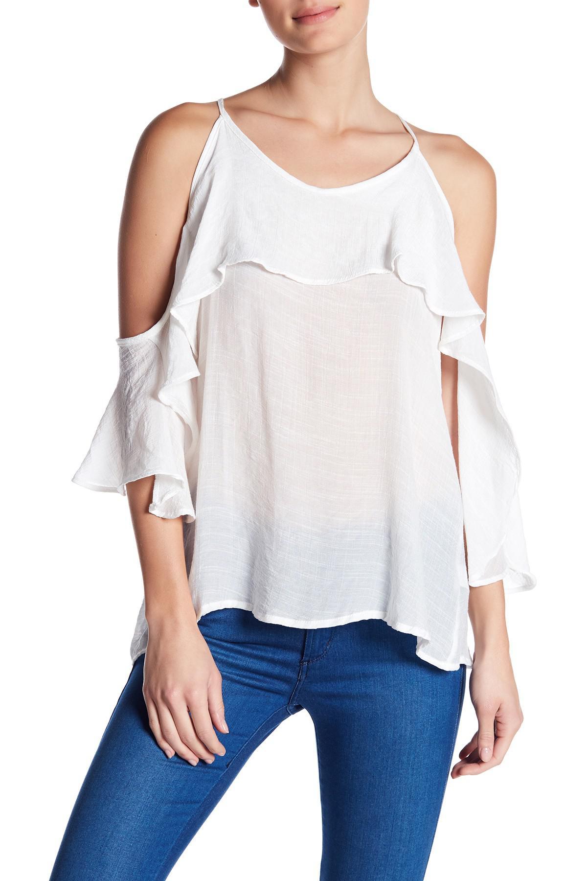 46e8012a88d89 Lyst - Noa Elle Kayla Cold Shoulder Shirt in White