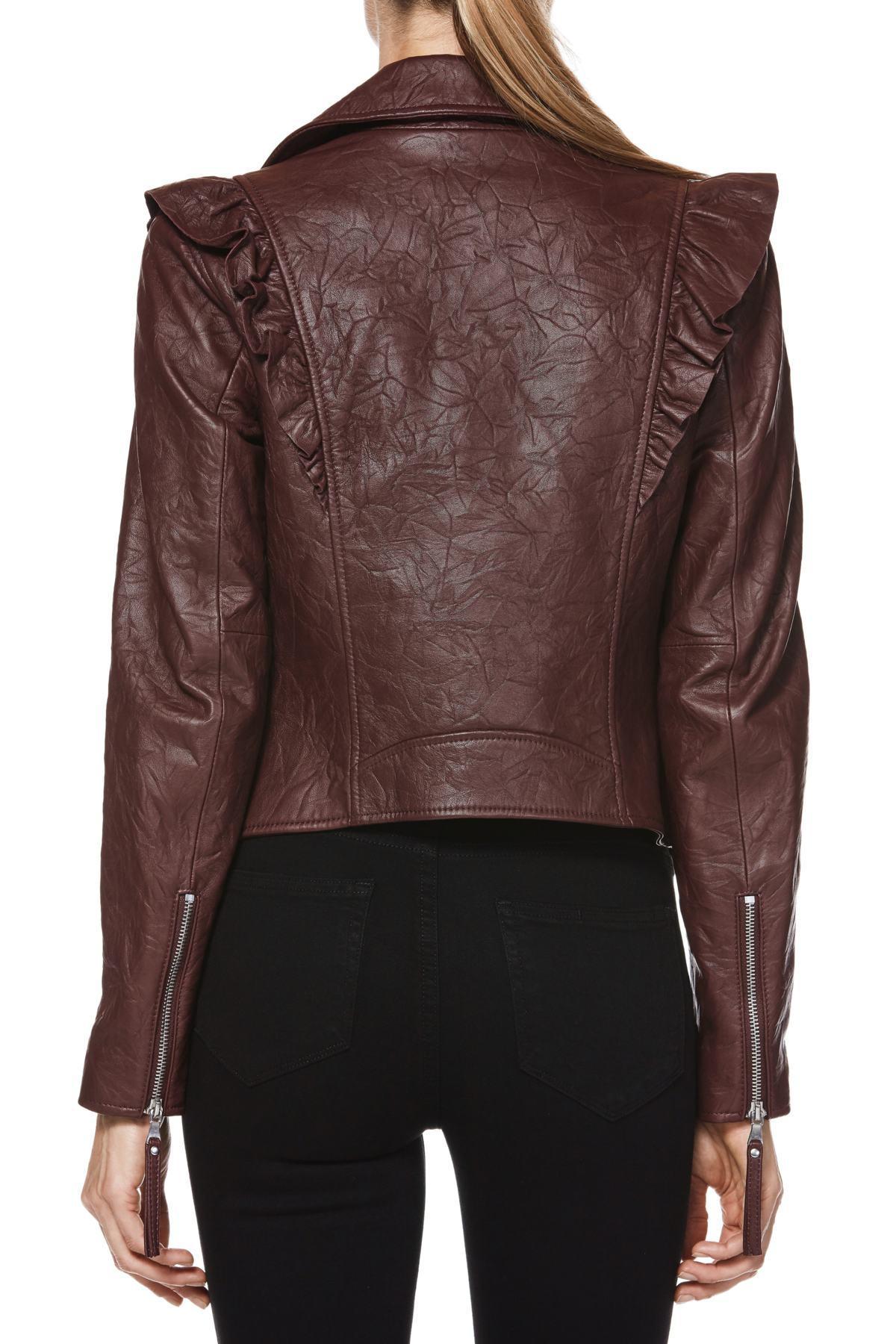 b5728b62c561 PAIGE - Brown Annika Leather Moto Jacket - Lyst. View fullscreen