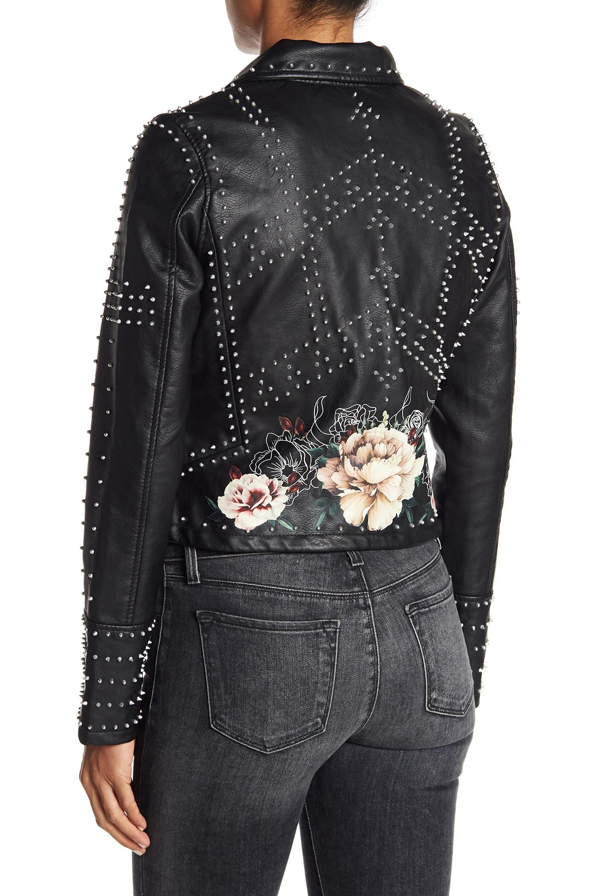 7743de535 Blank NYC Stud Floral Moto Faux Leather Jacket in Black - Lyst