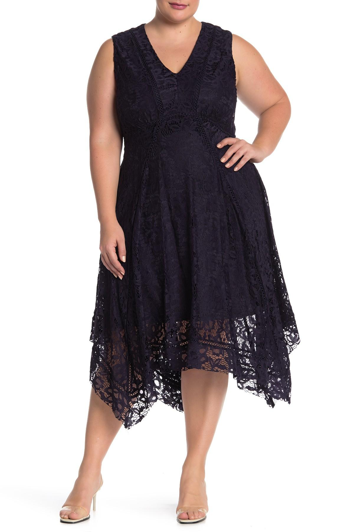 Lyst - Taylor Dresses Floral Lace Sleeveless Midi Dress ...