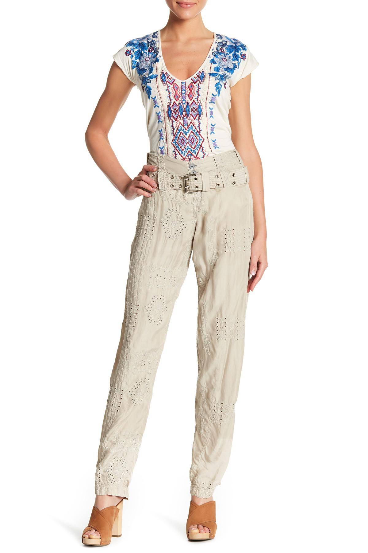 206fec972c8 Lyst - Johnny Was Causton Eyelet Belted Pants in Natural