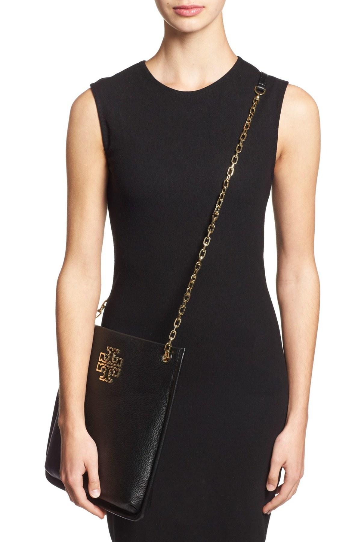 Tory Burch Britten Swingpack Leather Bag In Black Lyst