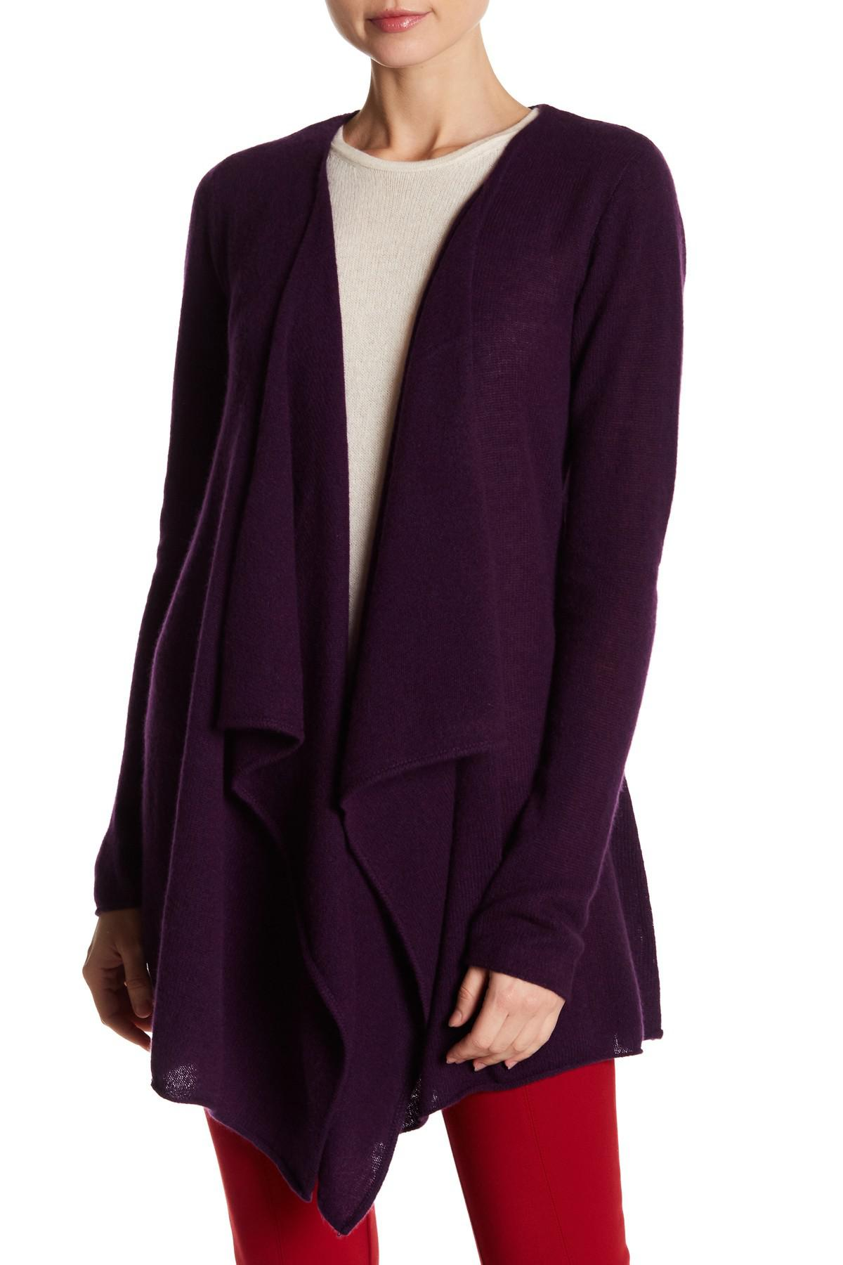 Philosophy cashmere Cashmere Waterfall Front Cardigan in Purple | Lyst
