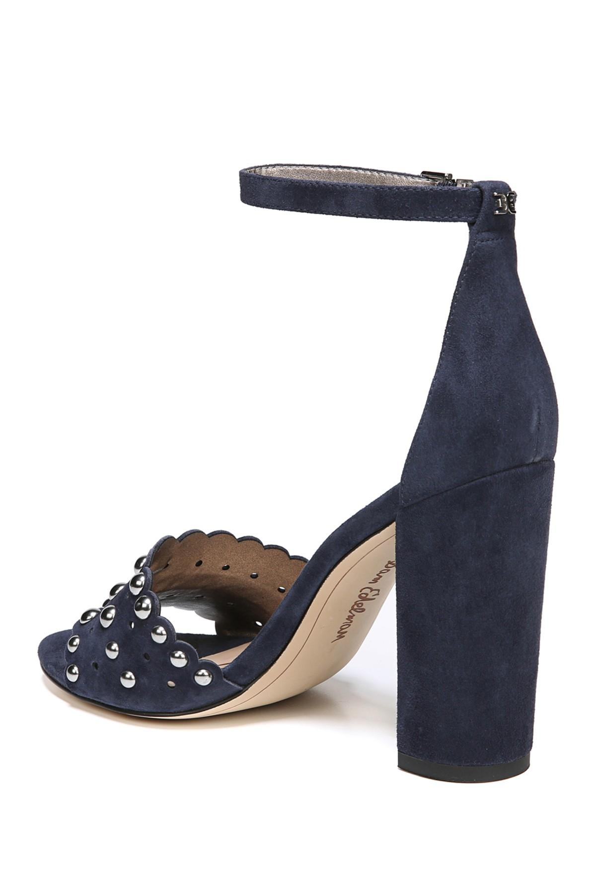 5695dd2d6a6b Sam Edelman - Blue Yaria Studded Block Heel Sandal - Lyst. View fullscreen