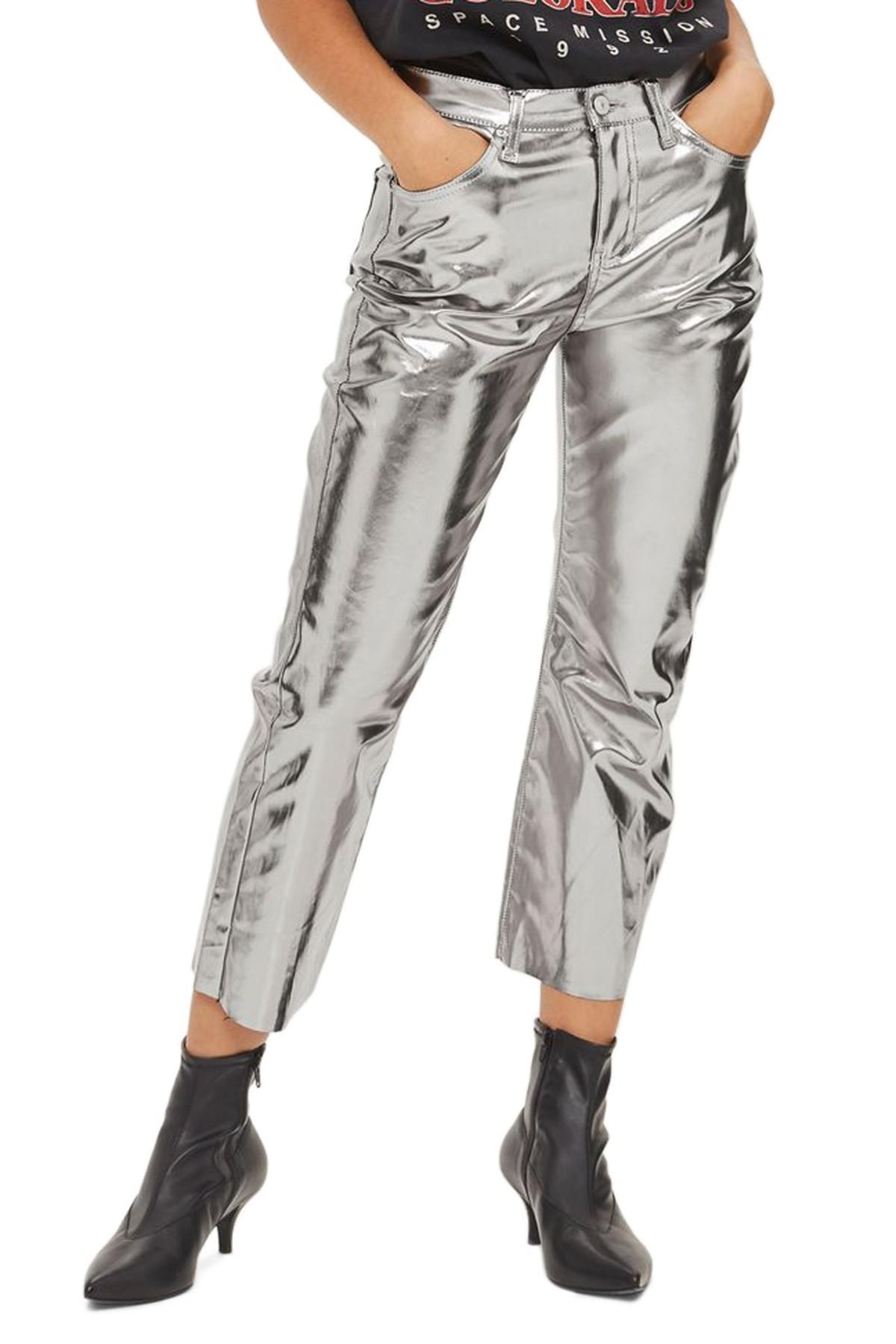 9d68d30455e Lyst - TOPSHOP Dree Metallic Crop Flare Jeans in Metallic