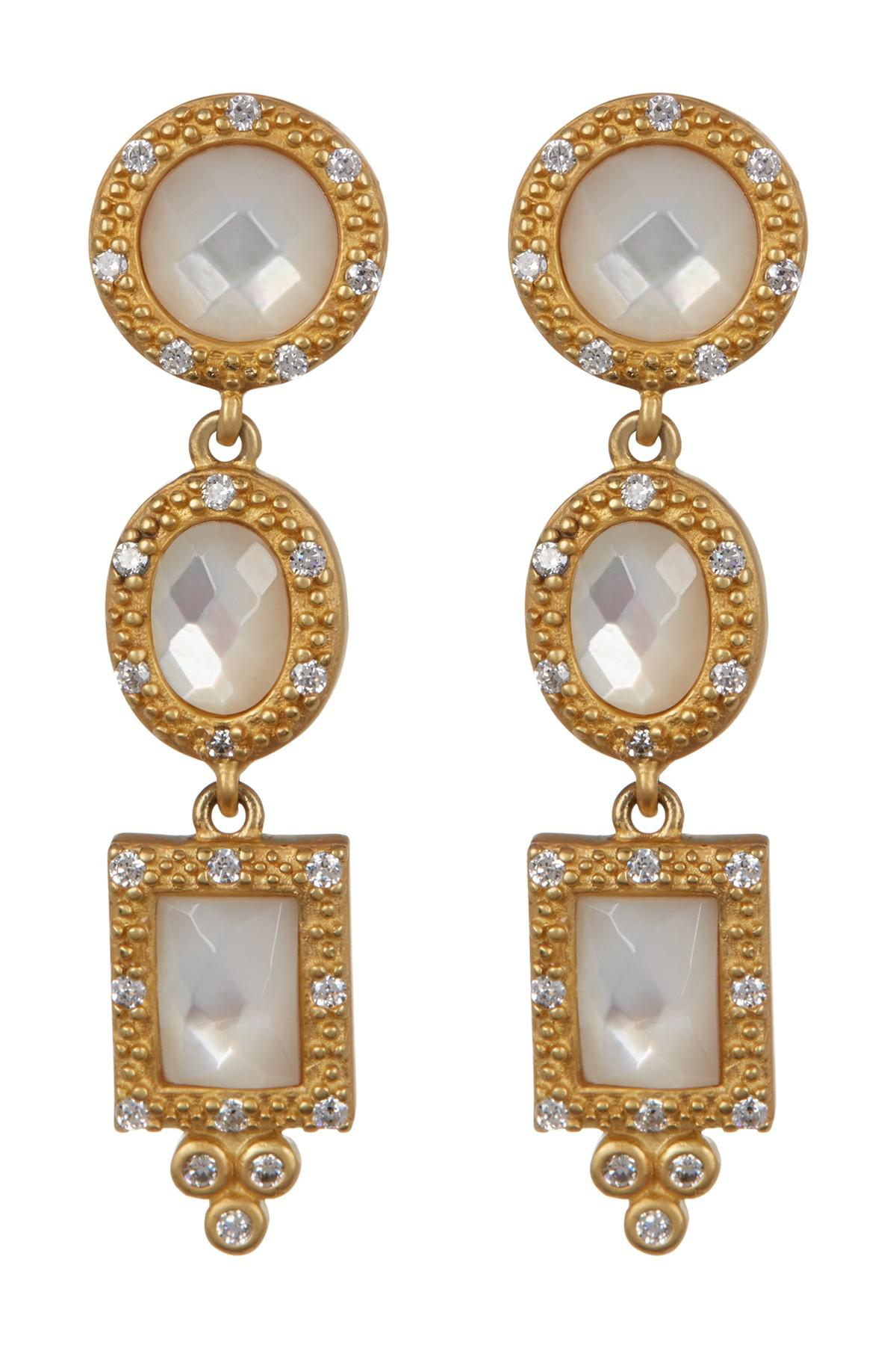 27bb4f5f6 Lyst - Freida Rothman 14k Gold Vermeil Pave Cz Mother Of Pearl Drop ...