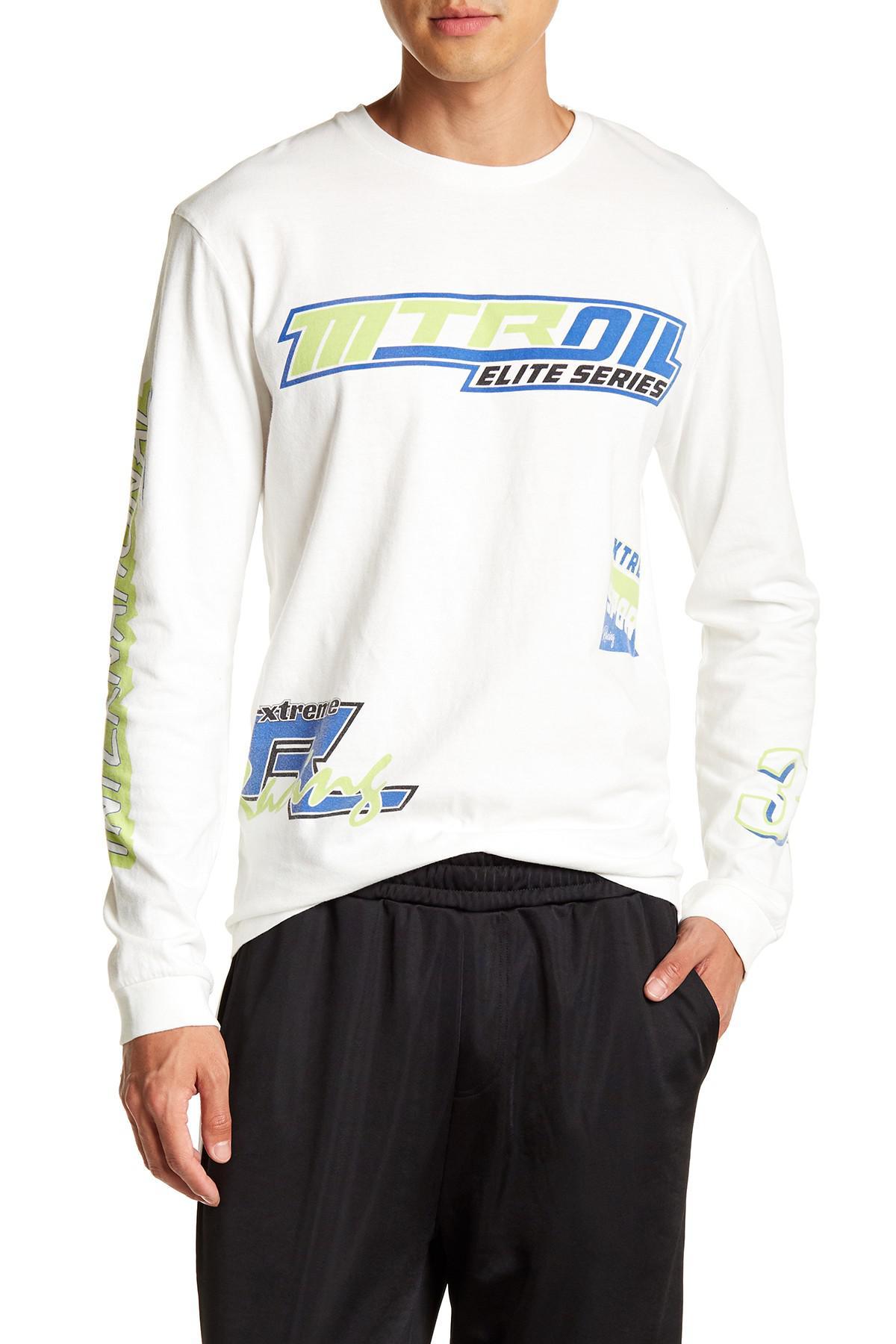 1e3df65015b6 TOPMAN Motocross Print Oversized Long Sleeve Tee in White for Men - Lyst