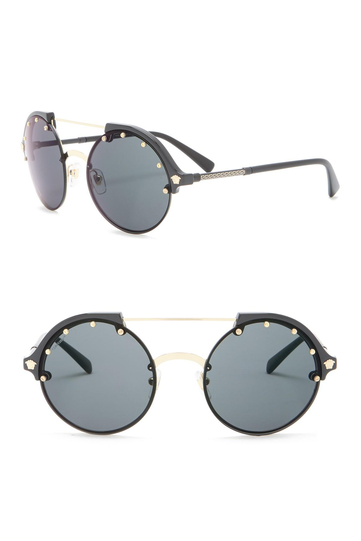 b89046e57177d Lyst - Versace Round 53mm Sunglasses in Gray - Save 68.75%