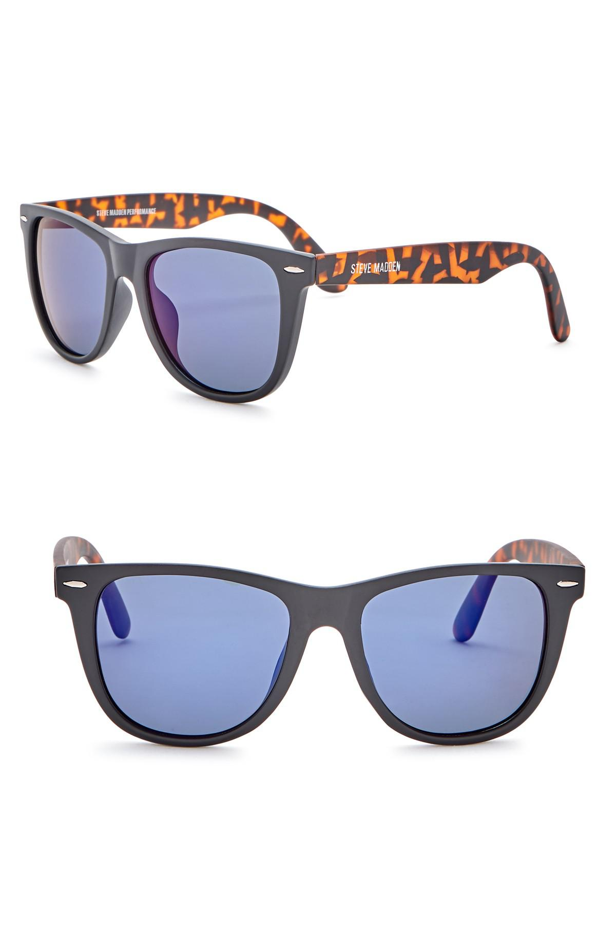 a871014106 Lyst - Steve Madden 54mm Square Polarized Acetate Frame Sunglasses ...