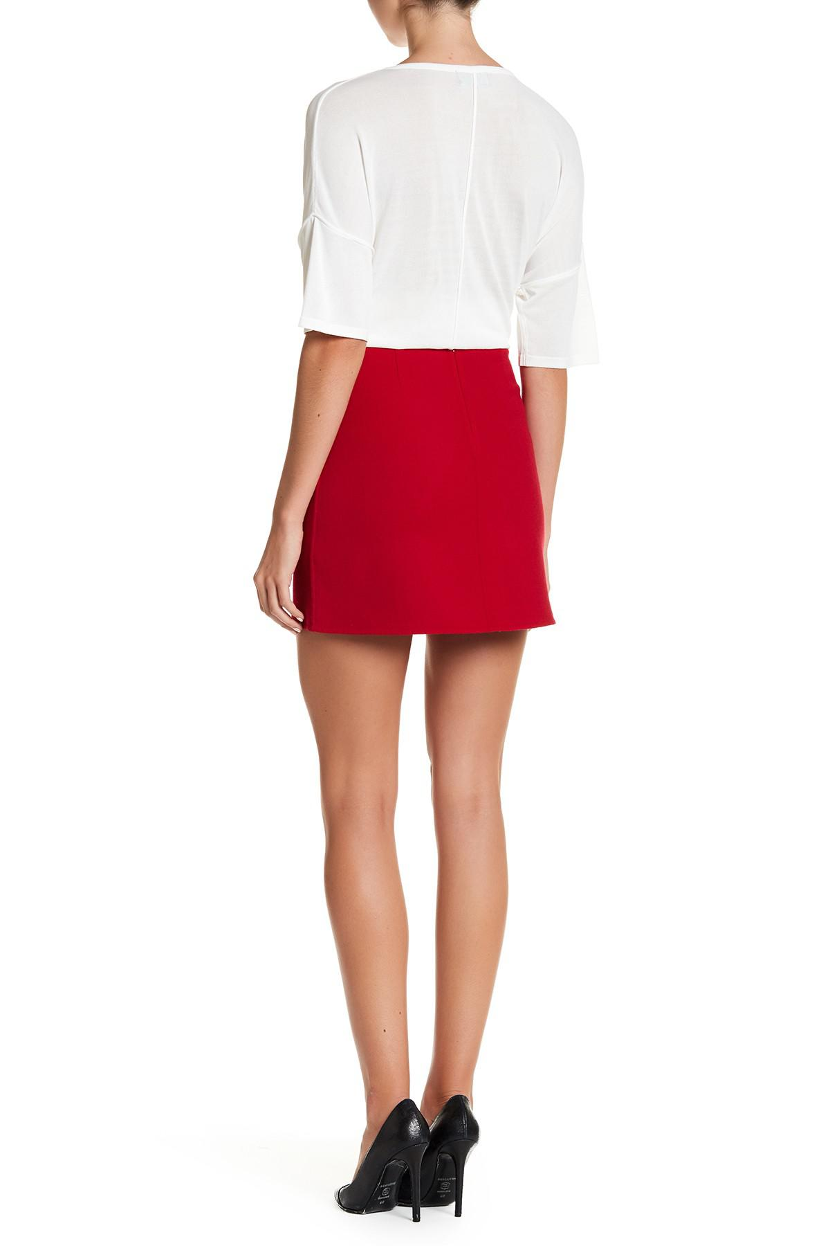 9062b3ff0c Theory Irenah Saxton Stretch Wool A-line Skirt in Red - Lyst