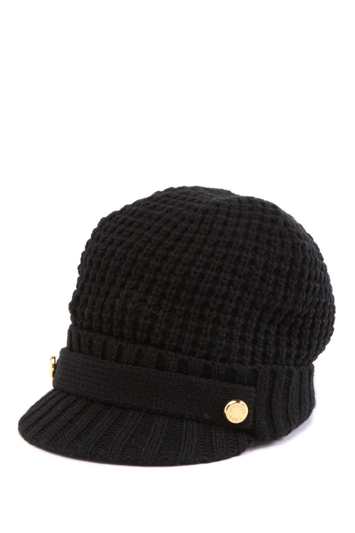 Lyst - Michael Kors Thermal Peak Knit Visor Beanie in Black 31c31b54527
