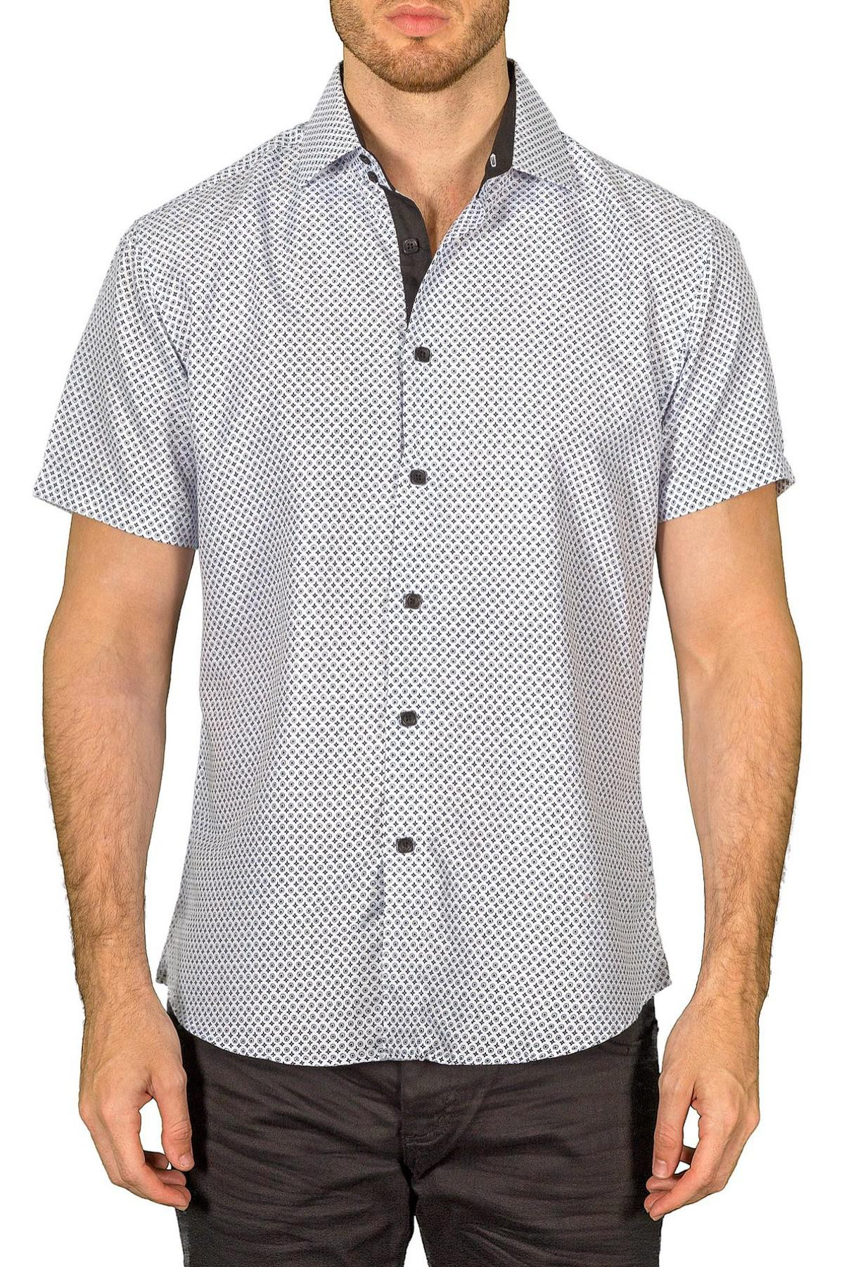 Lyst bc collection printed short sleeve regular fit for Regular fit dress shirt