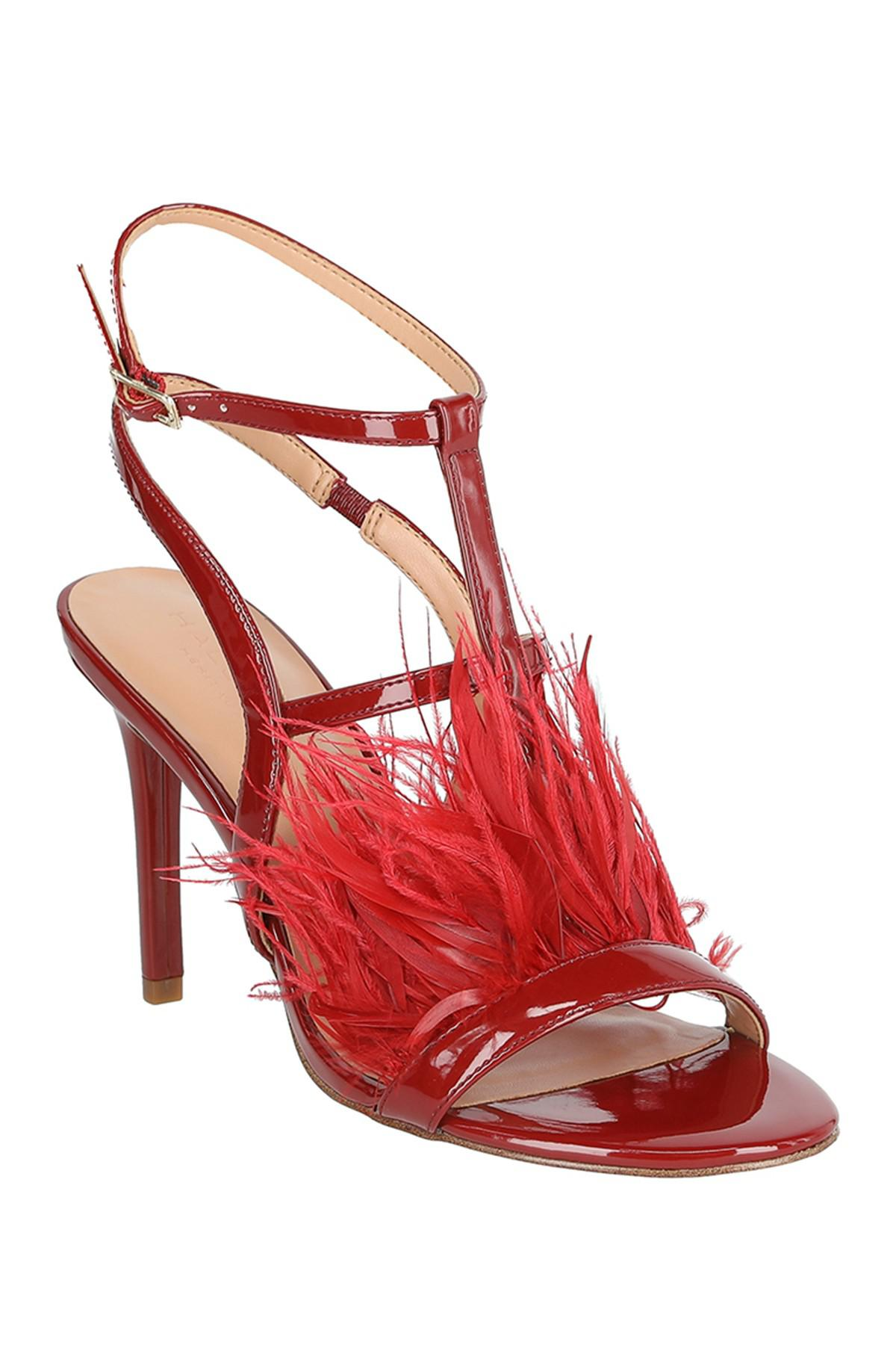0d037ae38914d Halston Tasha Faux Feather Patent Heel in Red - Lyst