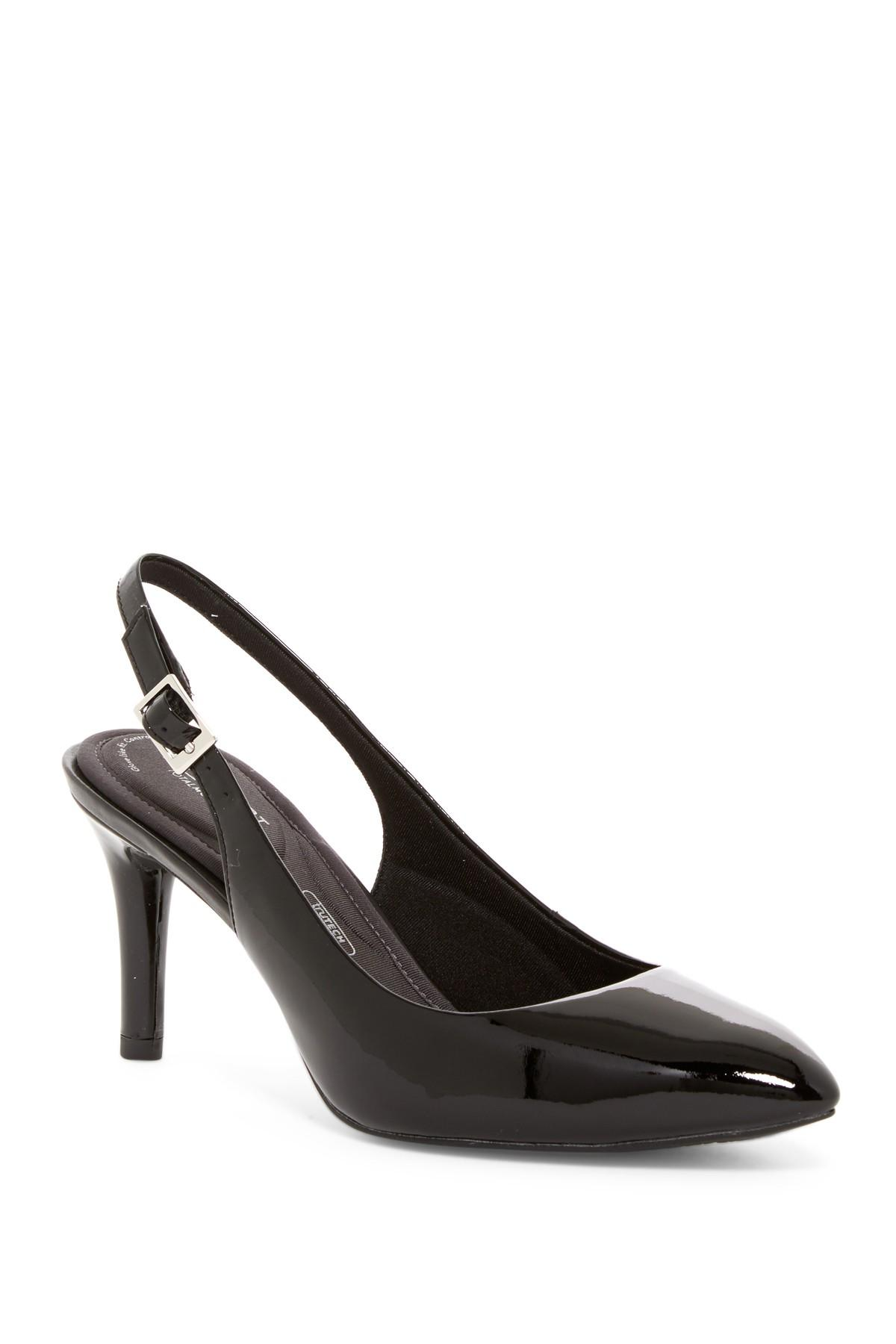 67f5c7c66fea Lyst - Rockport Total Motion Pointed Toe Slingback Pump - Wide Width ...