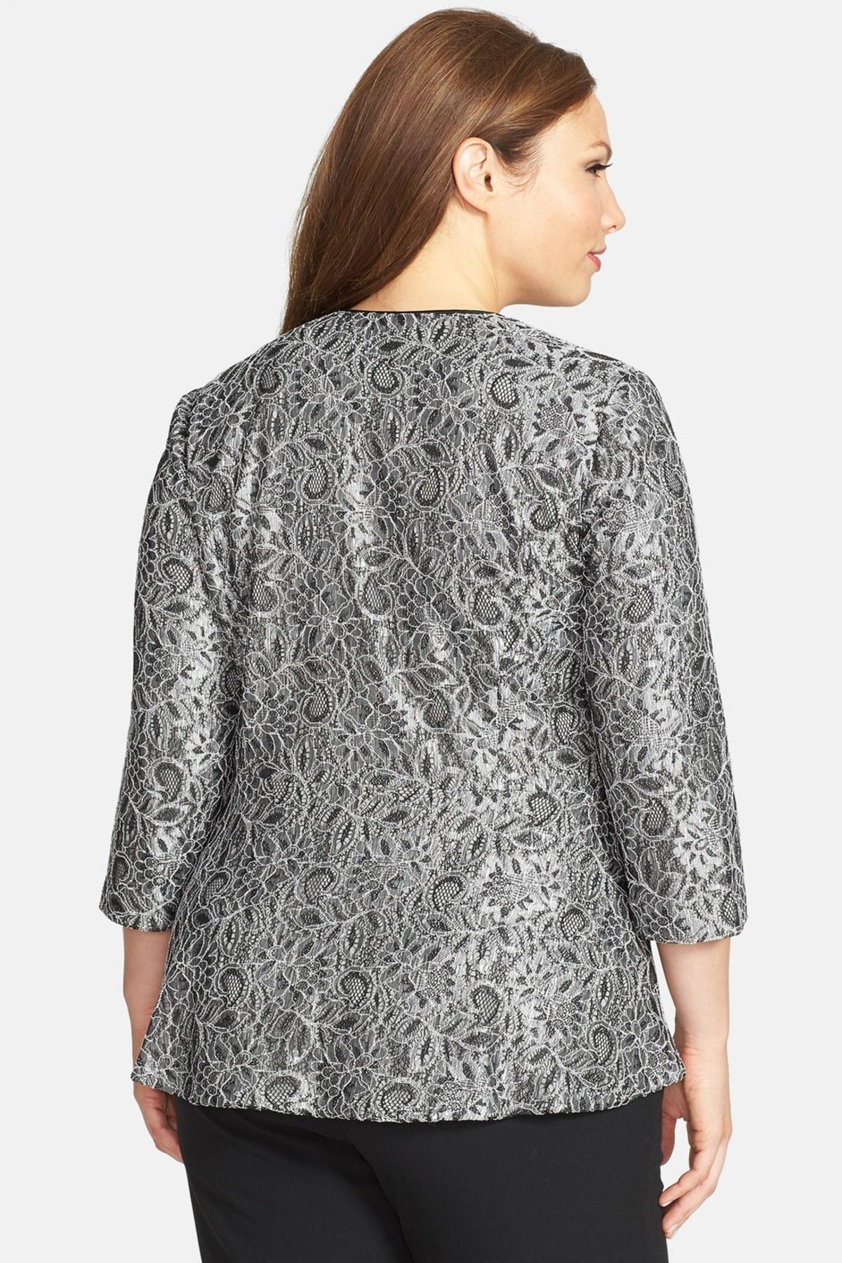 Alex Evenings Collarless Metallic Lace Jacket Plus Size