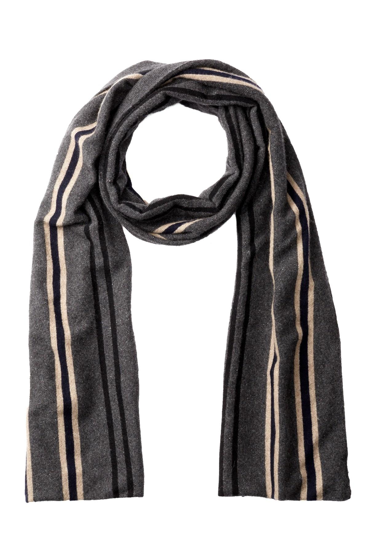 portolano multi color striped scarf in black for lyst