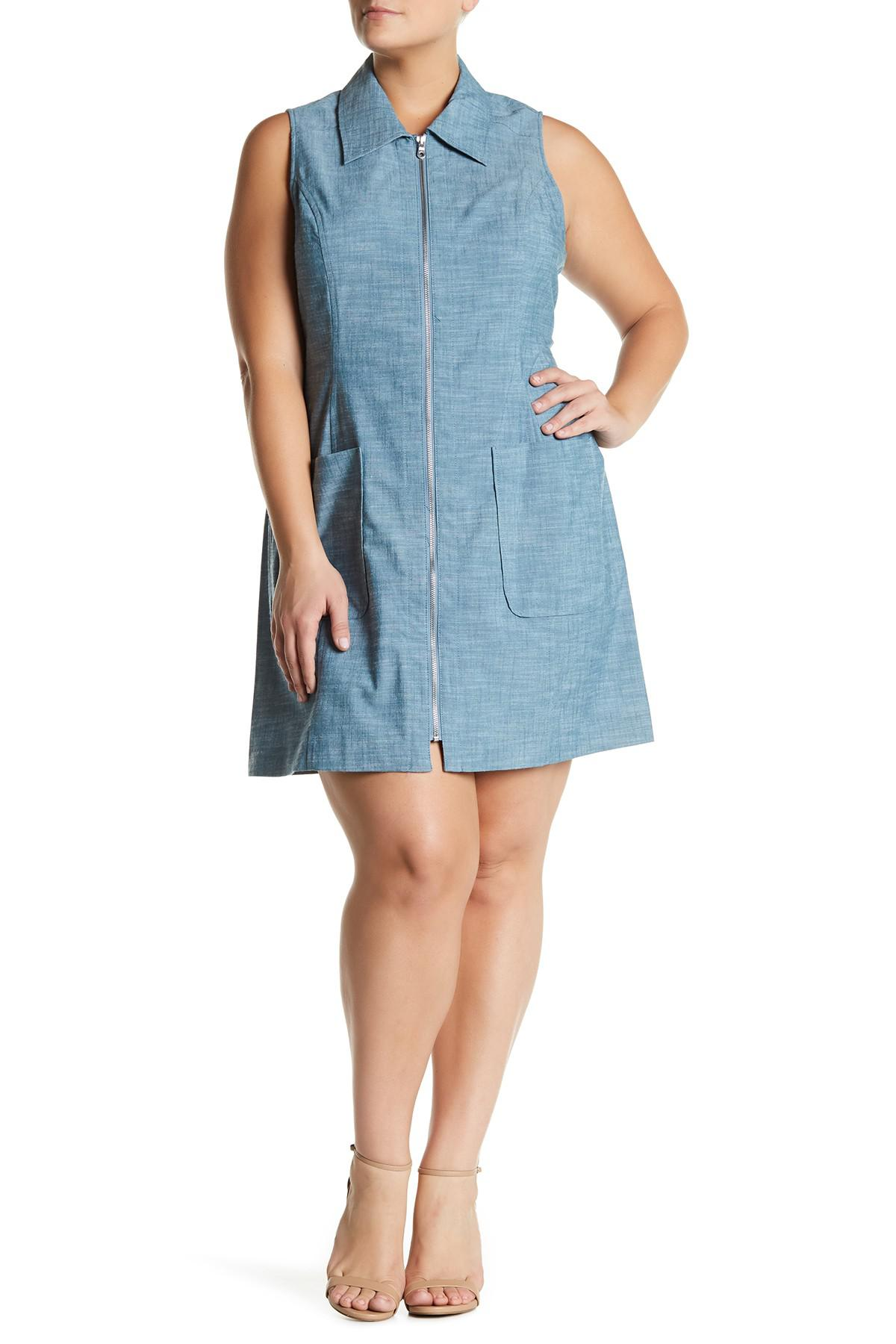 Lyst Sharagano Sleeveless Zip Front Pocket Dress Plus Size In Blue