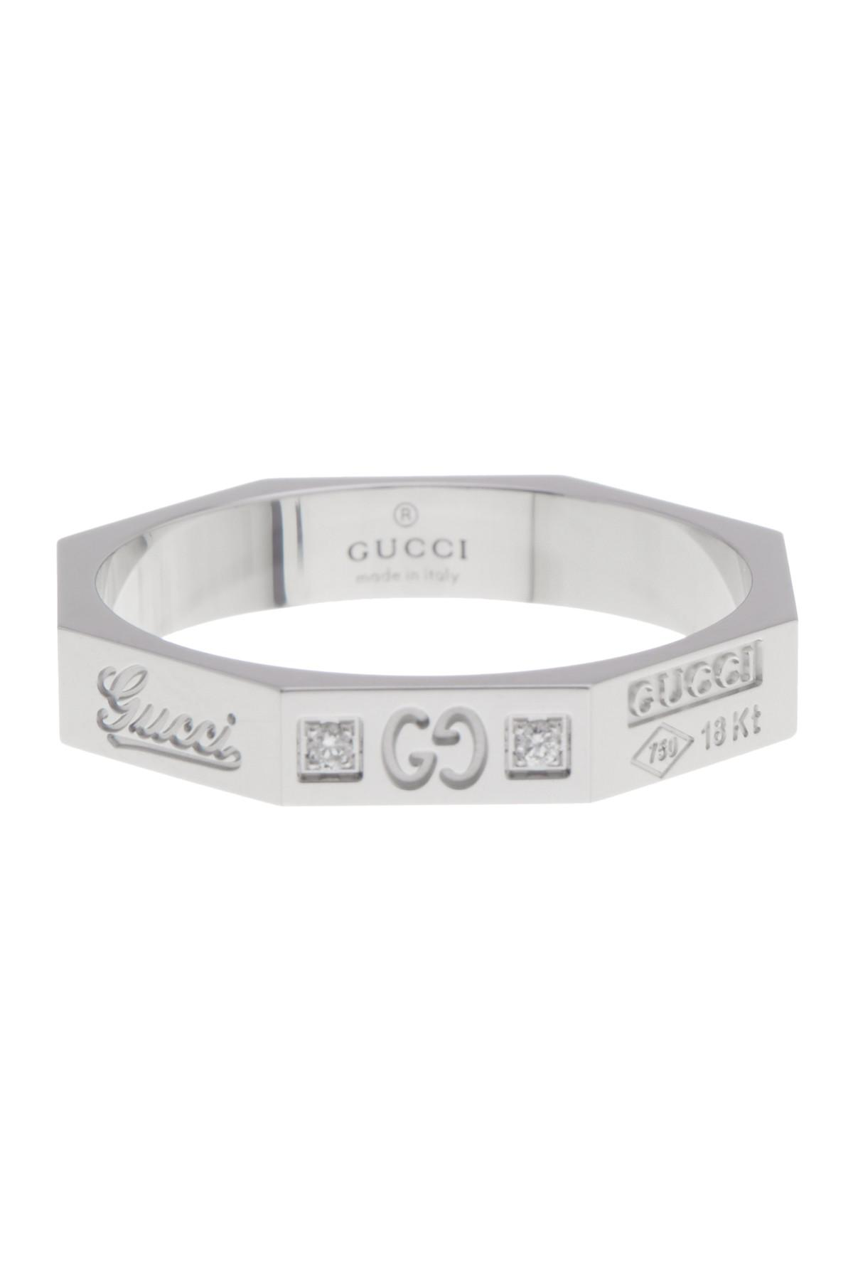 ae64f6ab7 Gucci 18k White Gold Otto Diamond & Logo Geo Band Ring - Size 8 in ...