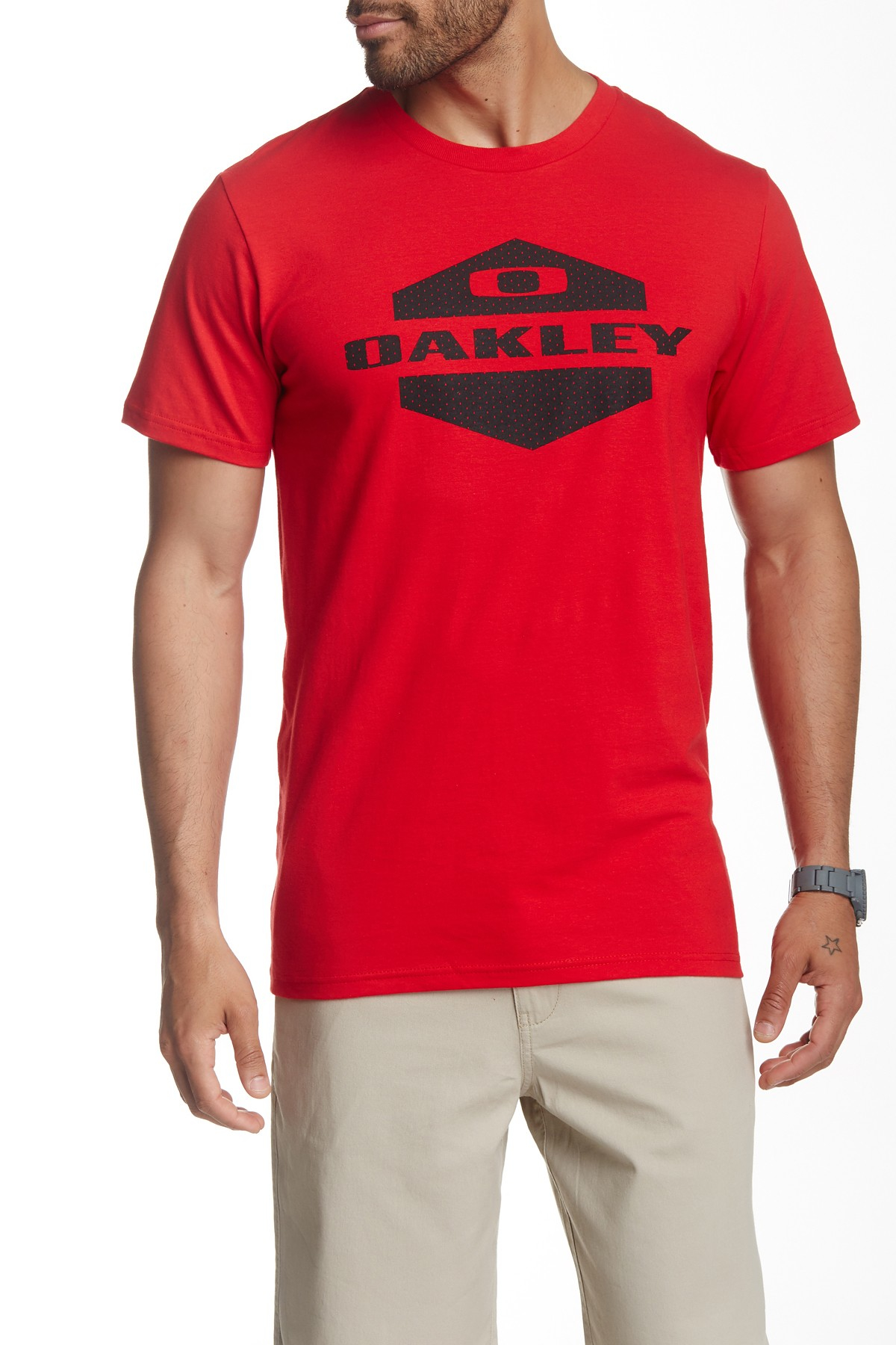 Oakley locker room tee in red for men lyst for Locker loop dress shirt
