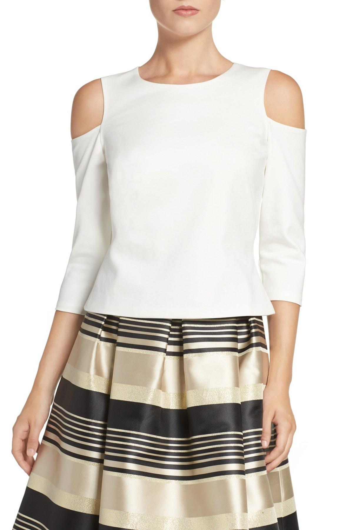 d833a2e6fb8a51 Lyst - Eliza J Cold Shoulder Top in White