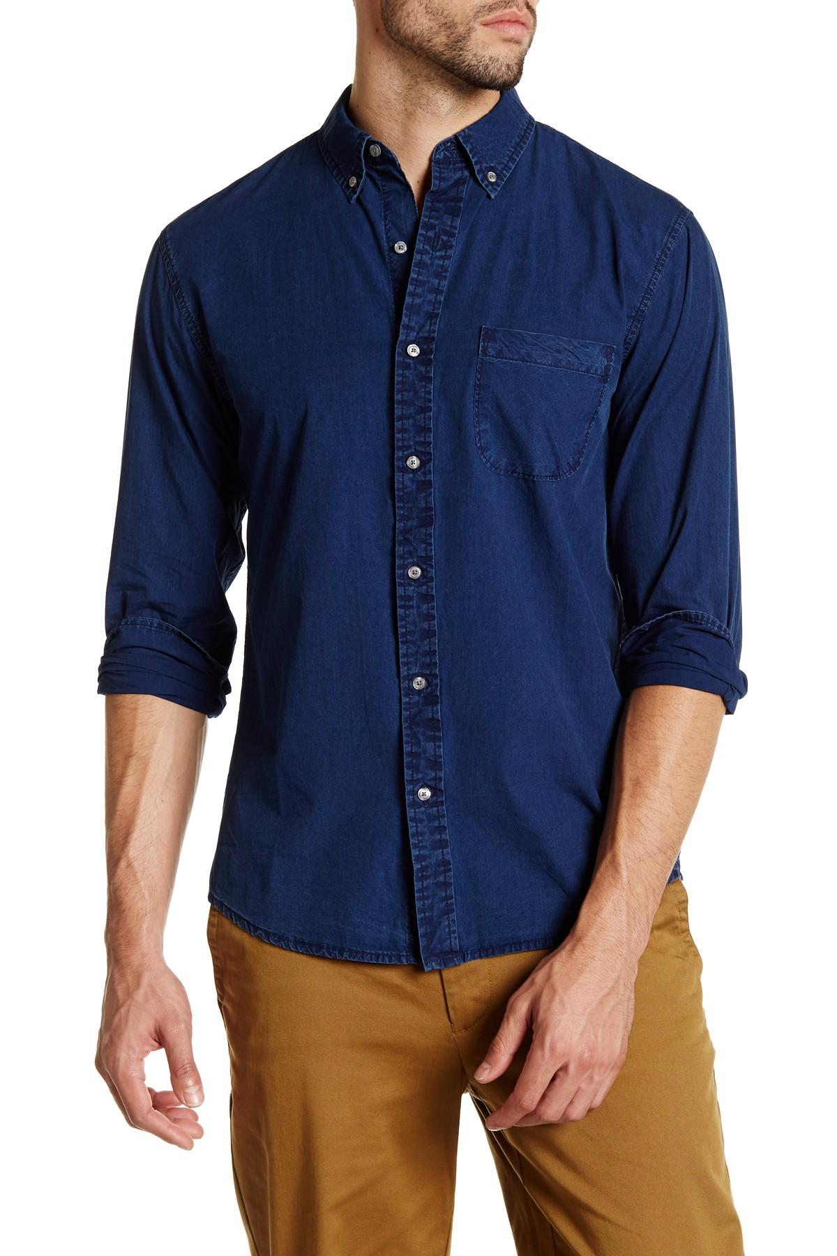 Lands 39 end chambray long sleeve regular fit shirt in blue for Men s regular fit shirts