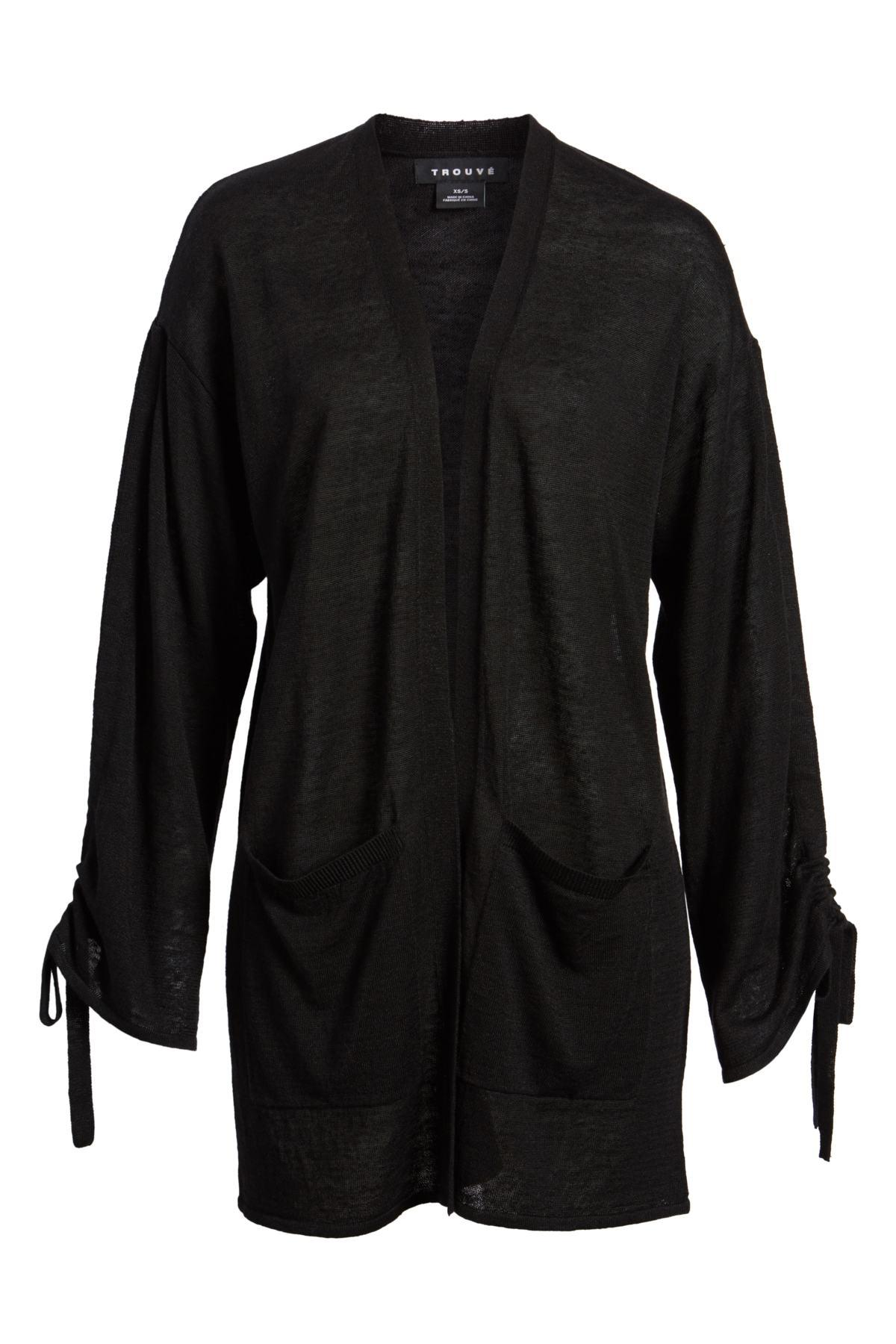 Lyst - Trouvé Trouv  Ruched Sleeve Cardigan in Black 5743e6473