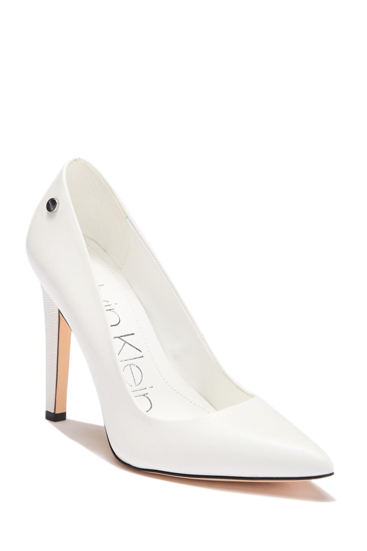 06302d5b120 Lyst - Calvin Klein Brady Liquid Smooth Patent Pump in White