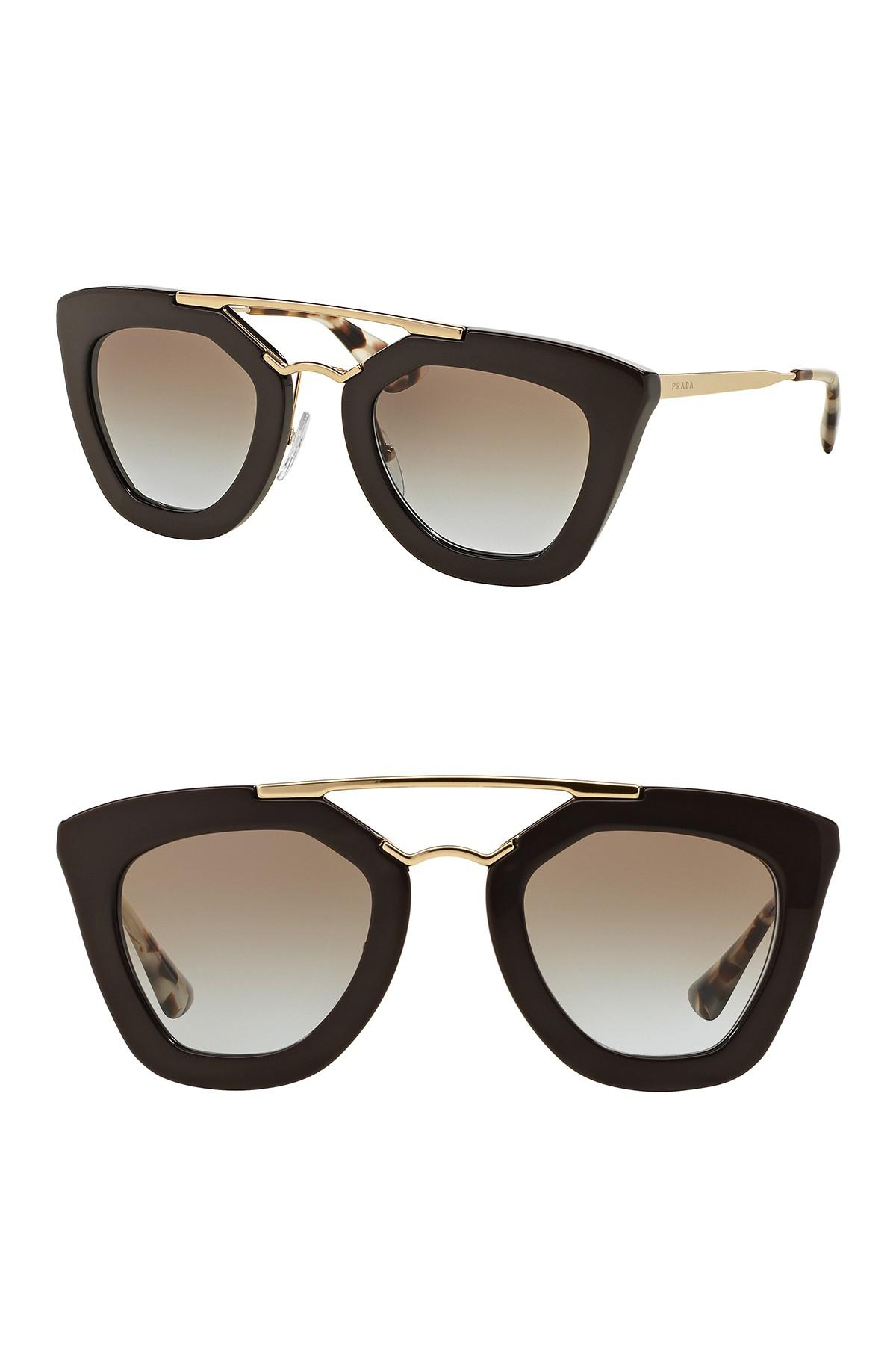 a8e52db4097 ... canada lyst prada catwalk cinema 49mm cat eye sunglasses in brown a0e47  190ee