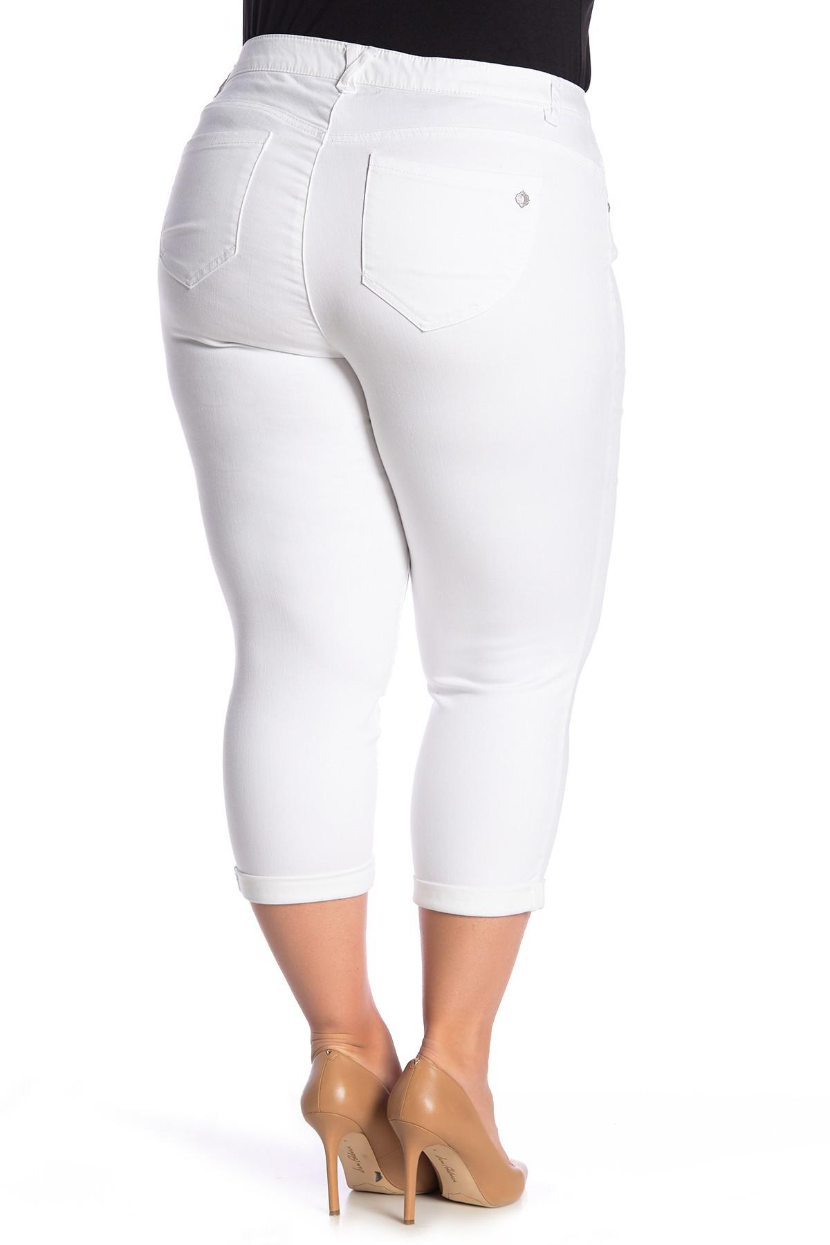70808aa3315a6 Democracy - White High Rise Stretch Twill Rolled Jeans (plus Size) - Lyst.  View fullscreen