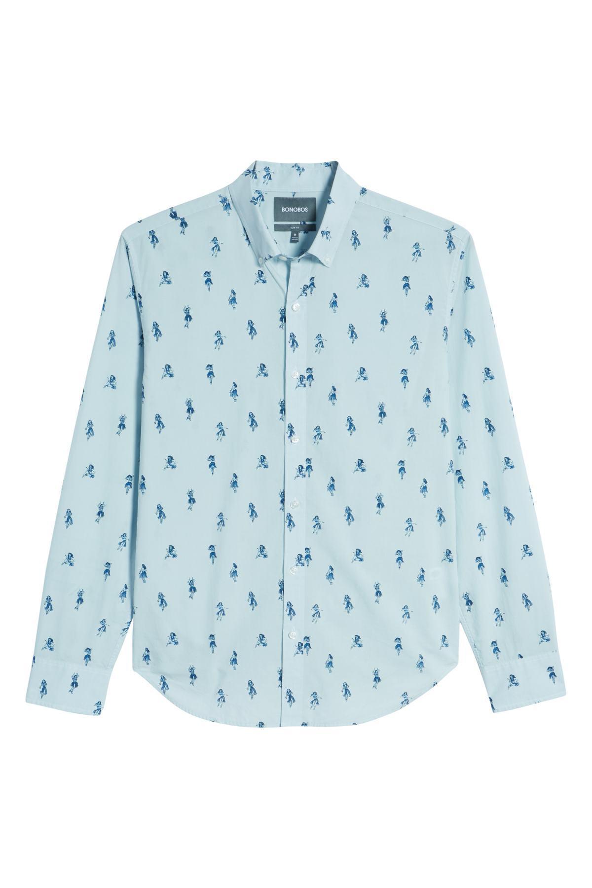 573ccf79db8 Bonobos - Blue Summerweight Slim Fit Hula Print Sport Shirt for Men - Lyst.  View fullscreen