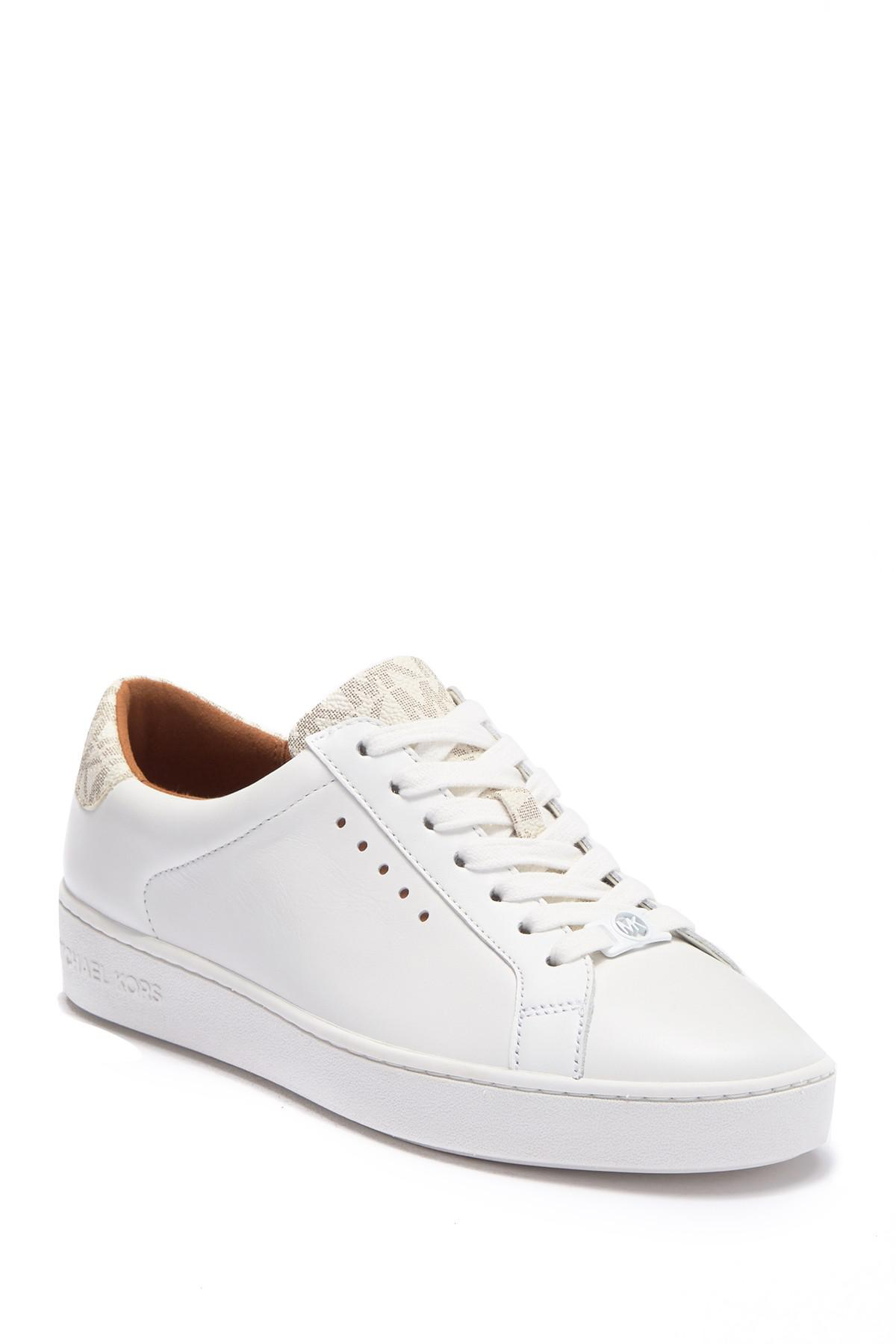 707af289741ac Lyst - Michael Michael Kors Irving Leather Brand Logo Lace-up Sneaker